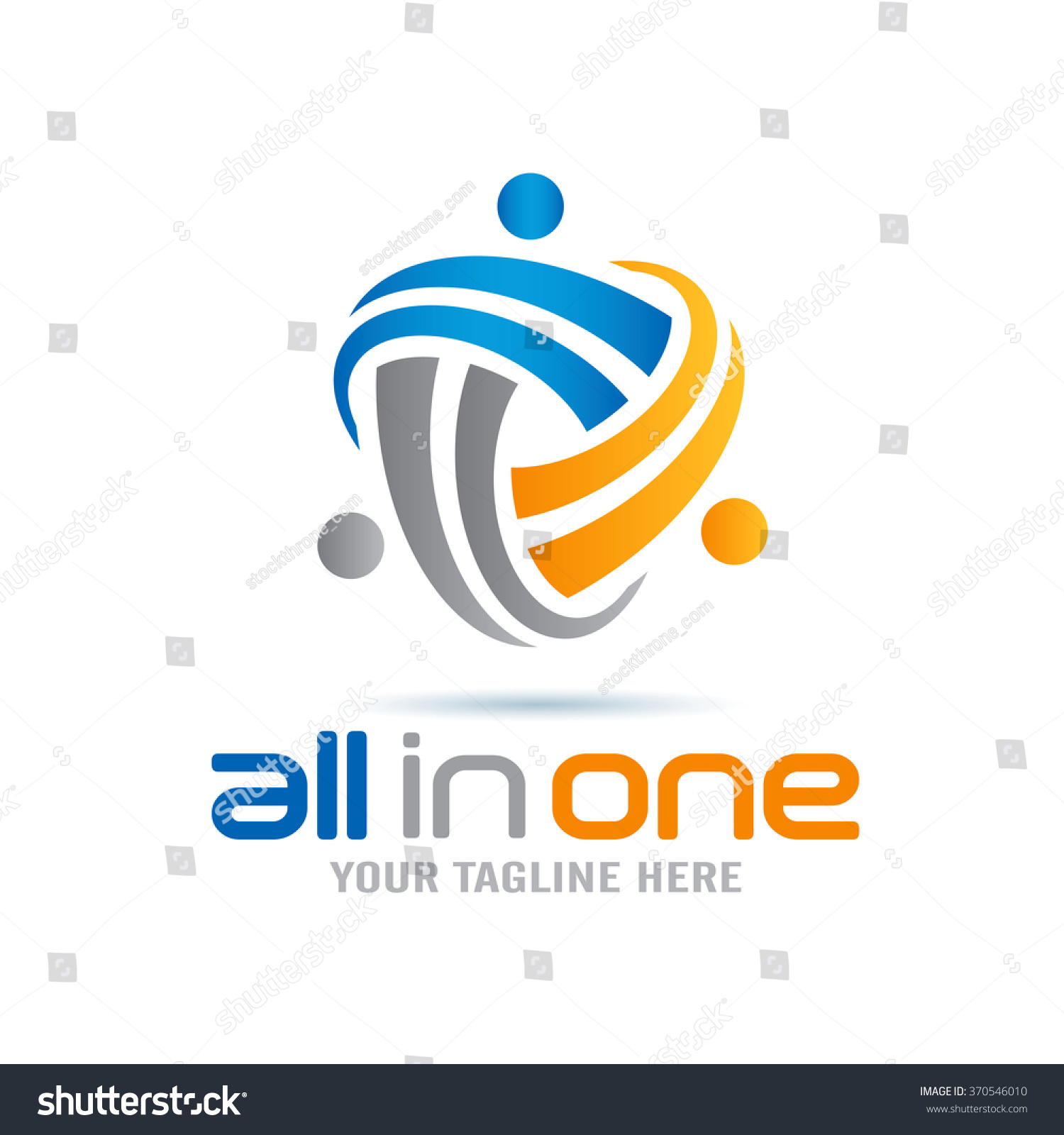All In One Abstract People Logo Icon Elements Template #370546010