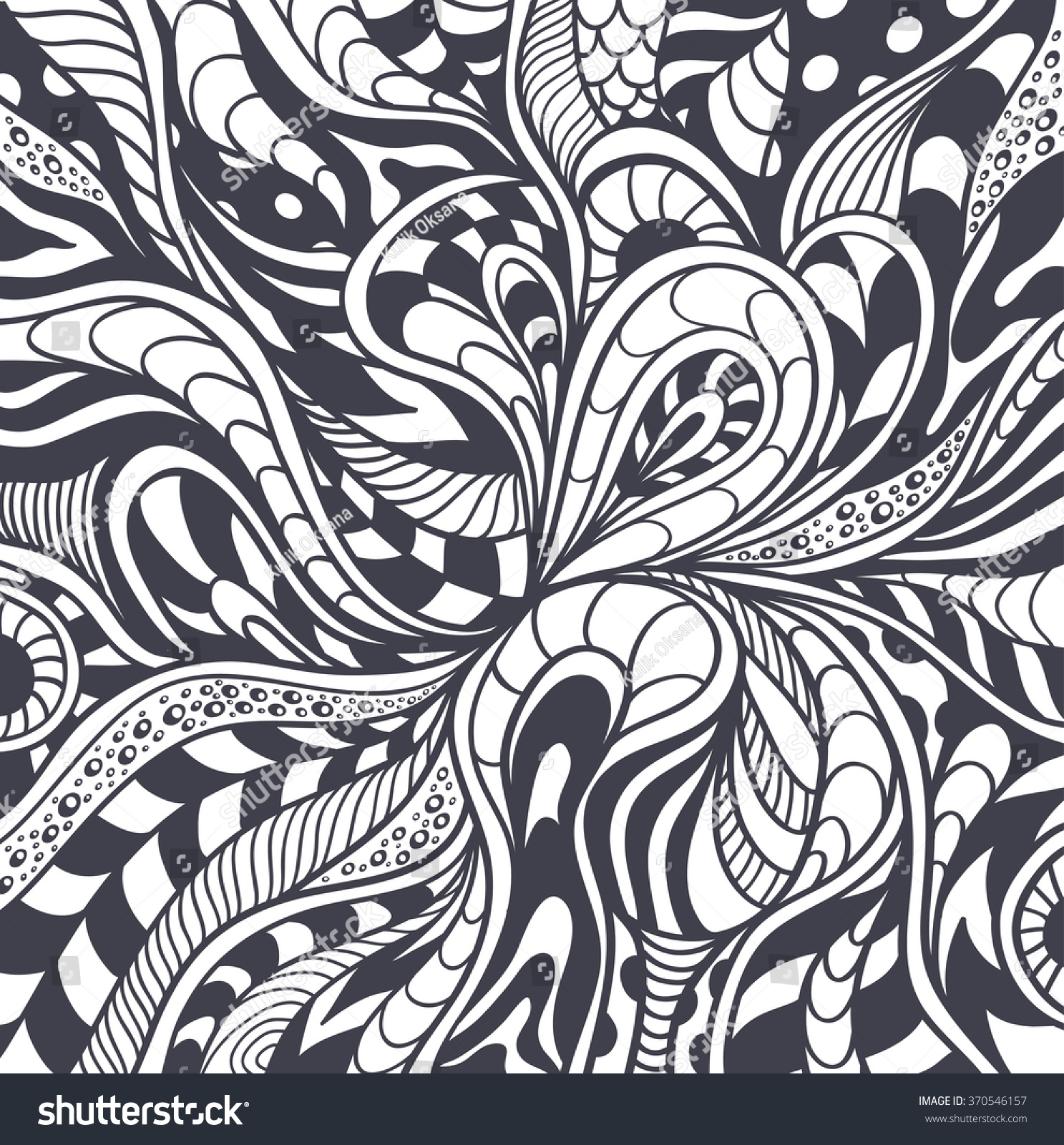 abstract background or pattern or texture in zen tangle zen doodle style black on