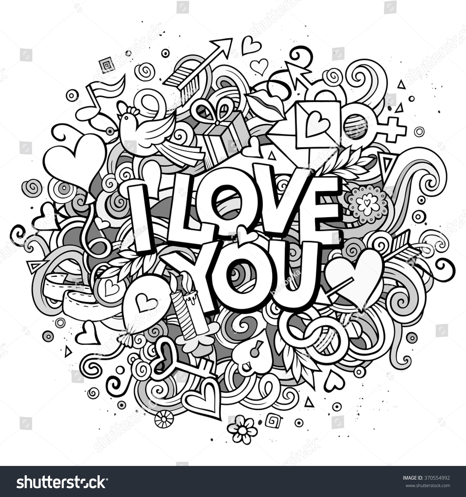 Royalty free cartoon vector hand drawn doodle i love 370554992