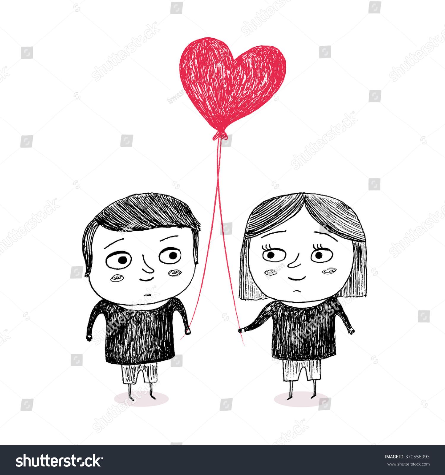 Boy Girl Love Holding Heart Shape Stock Vector 370556993 ...