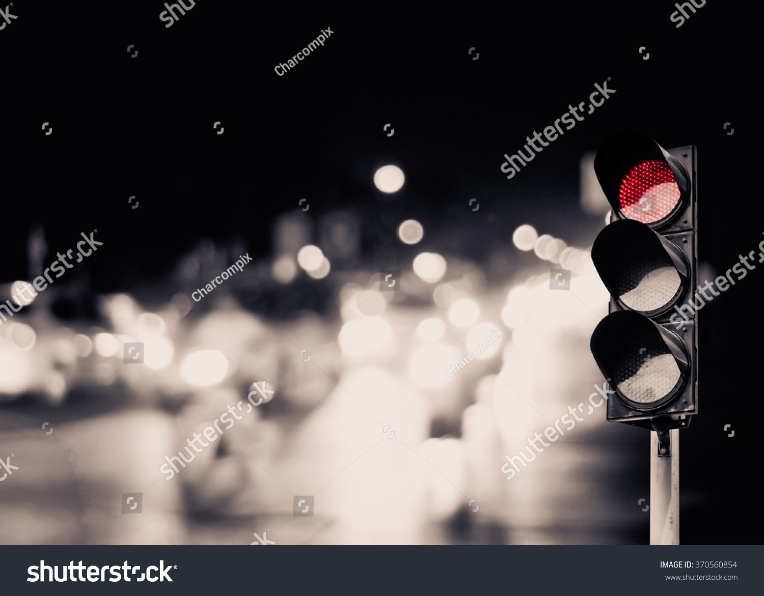 Red Traffic Light On Road Night Stock Photo 370560854 - Shutterstock for Traffic Light On Road At Night  45ifm