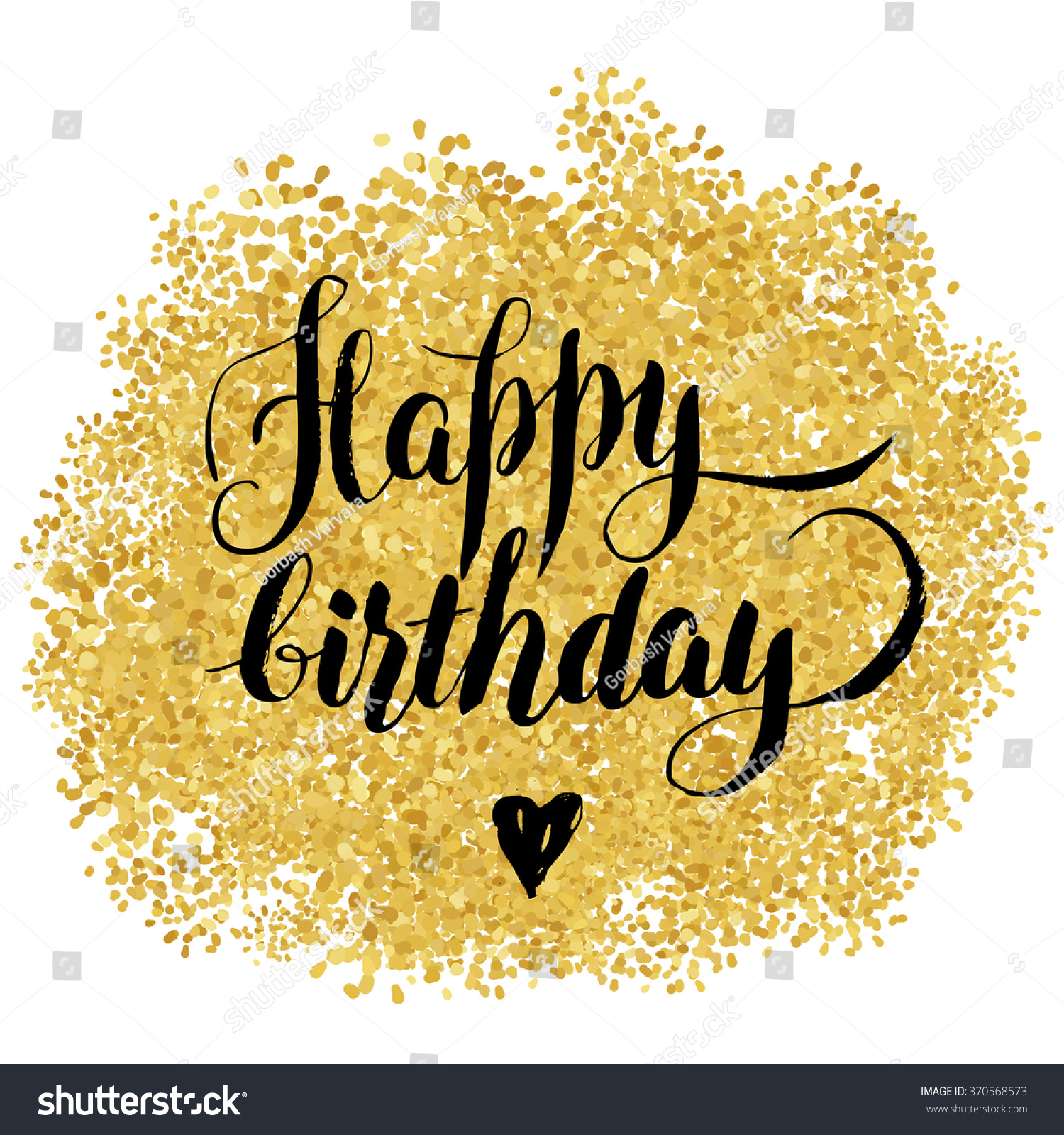 Happy Birthday Stilish Lettering Over Gold Stock Vector