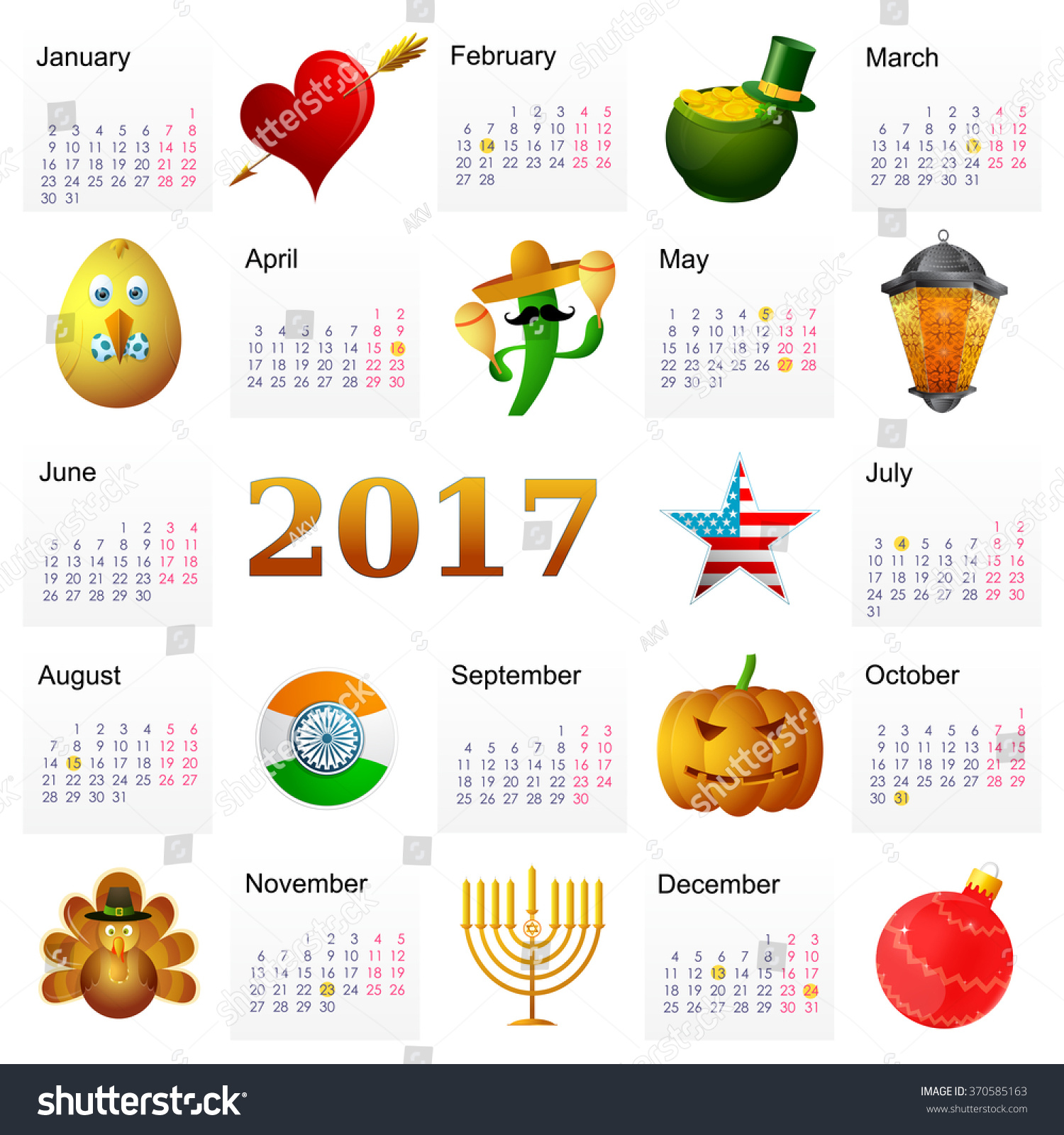 Year 2017 calendar with main Holiday symbols set featuring St ...