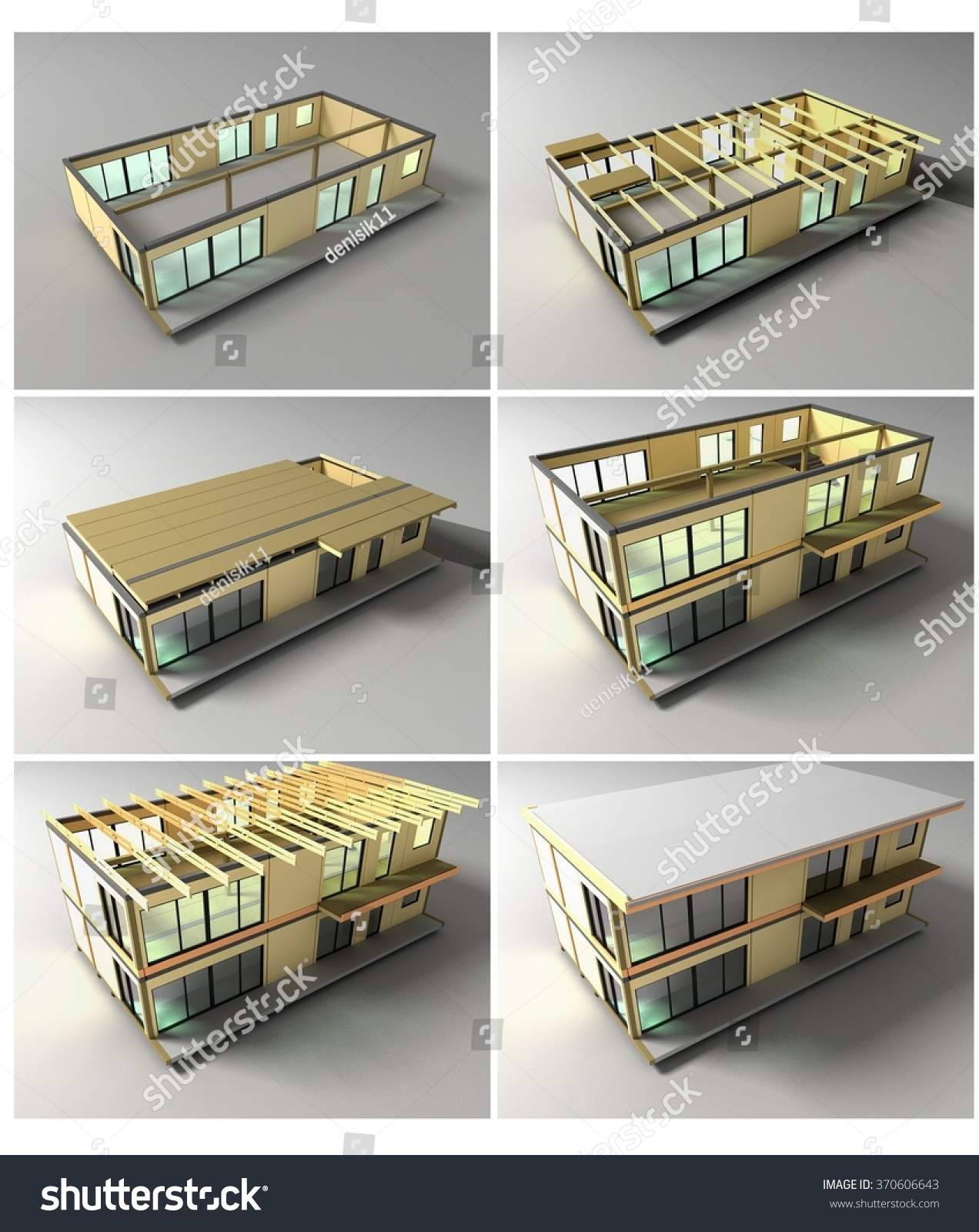 Stages Construction Stages Building House On Stock Illustration ...