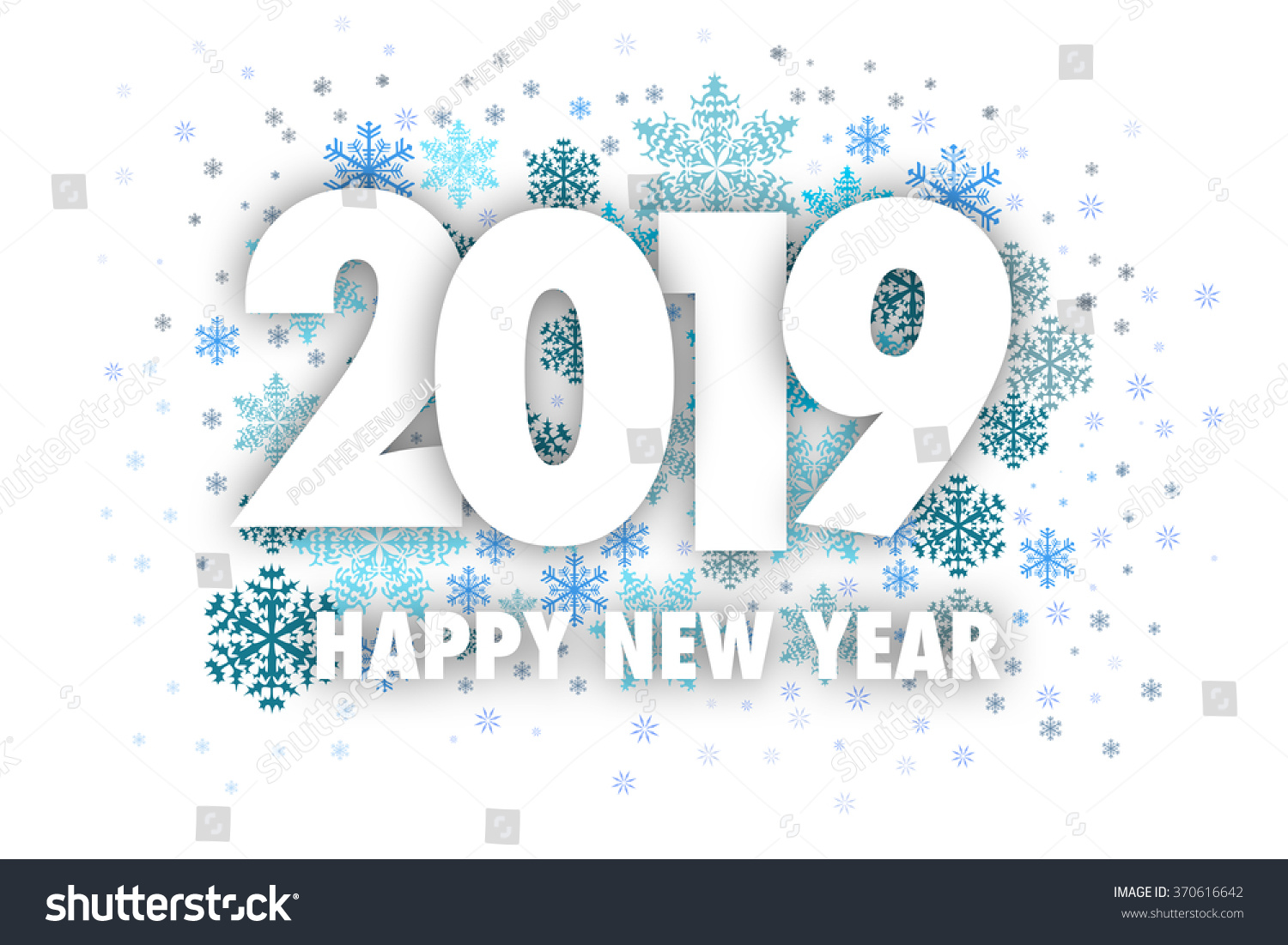 Happy 2019 >> Happy 2019 New Year On Snowflake Stock Illustration 370616642