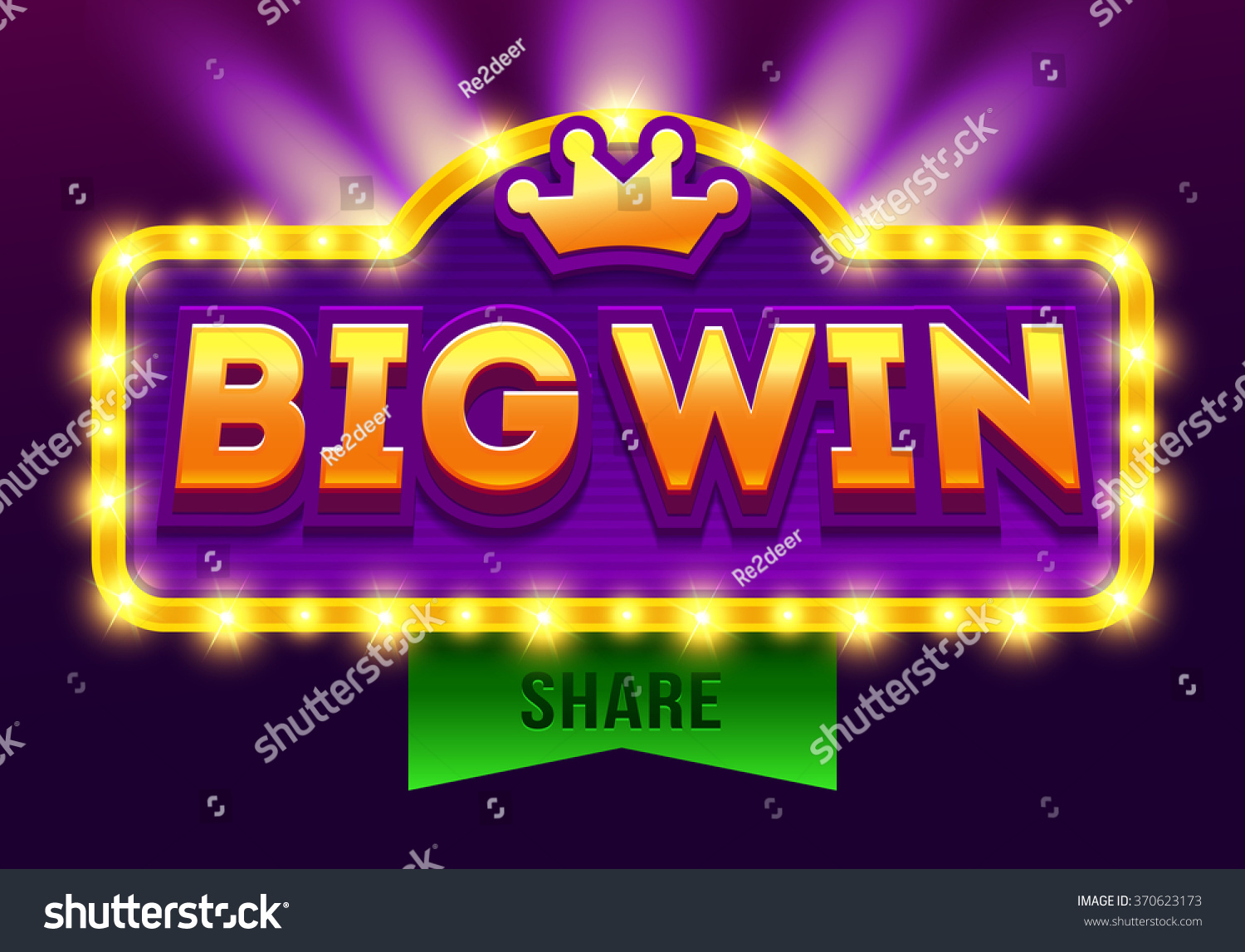 Retro sign with lamp Big Win banner Vector illustration design with poker playing cards slots and roulette