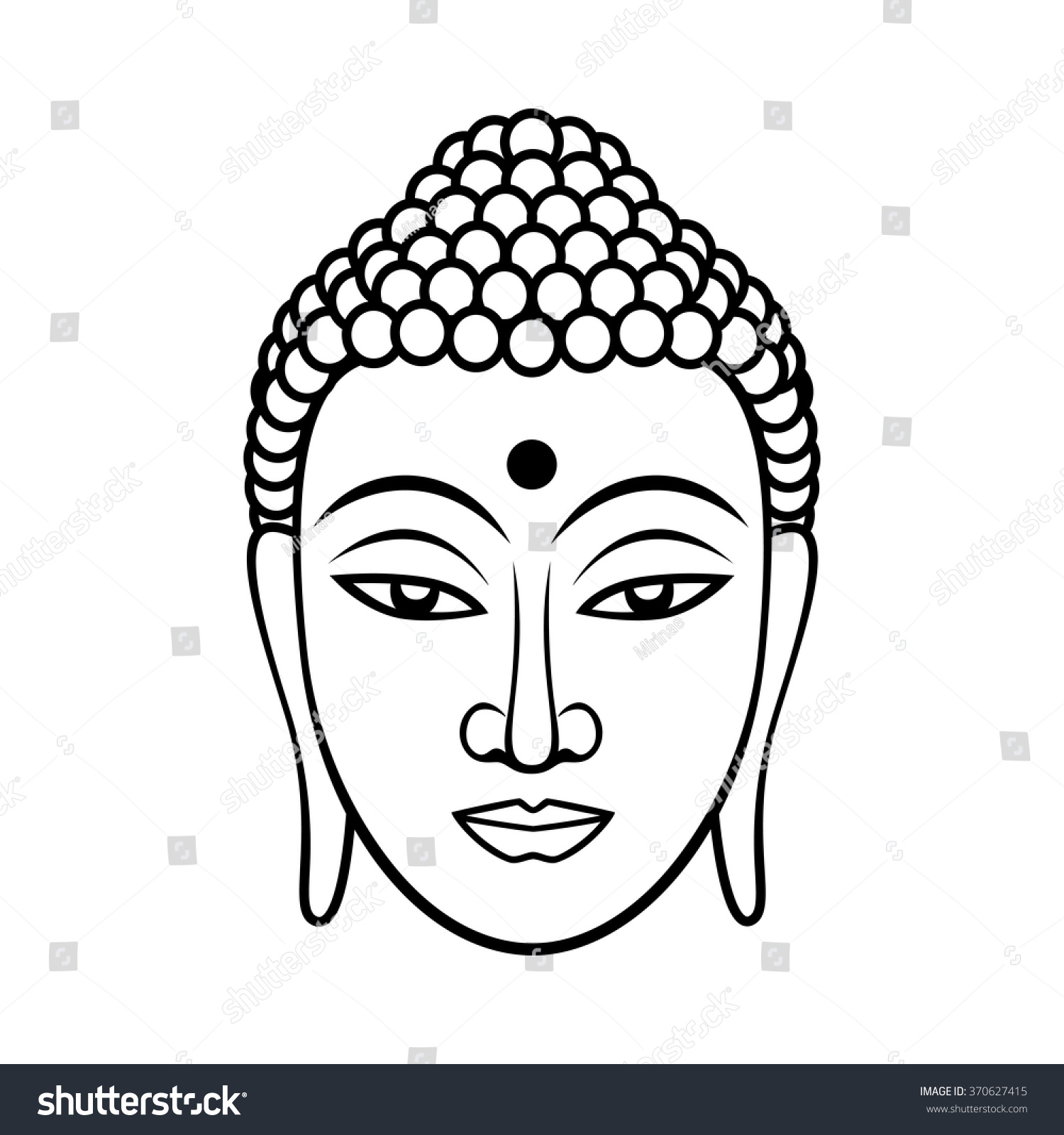 Buddha Face Line Drawing : Buddha face black line illustration on white background