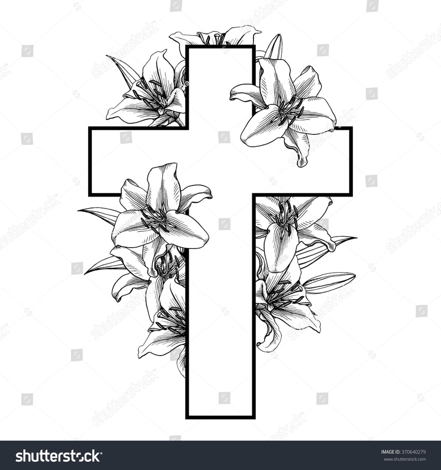 Cross white lillies christian symbol vector stock vector 370640279 cross with white lillies christian symbol vector illustration easter christian motive resurrection biocorpaavc