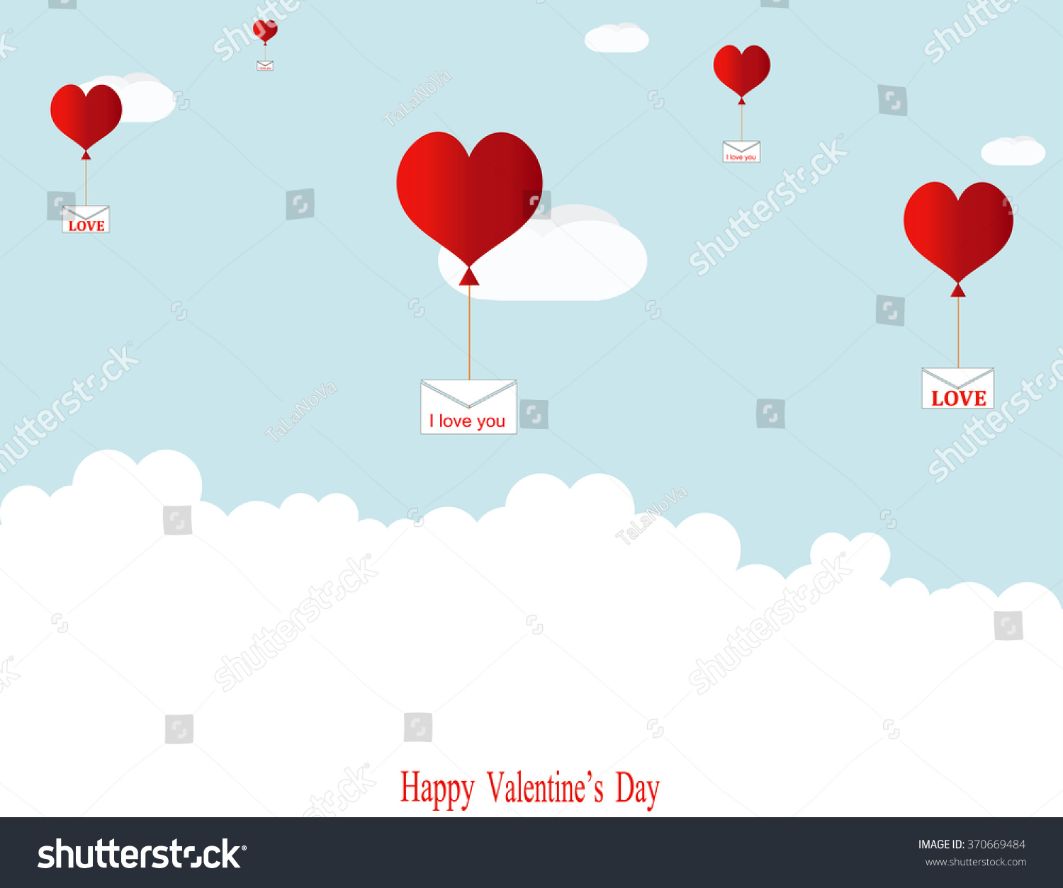 Balloons in the shape of hearts are flying among the clouds, delivering love letters. #370669484