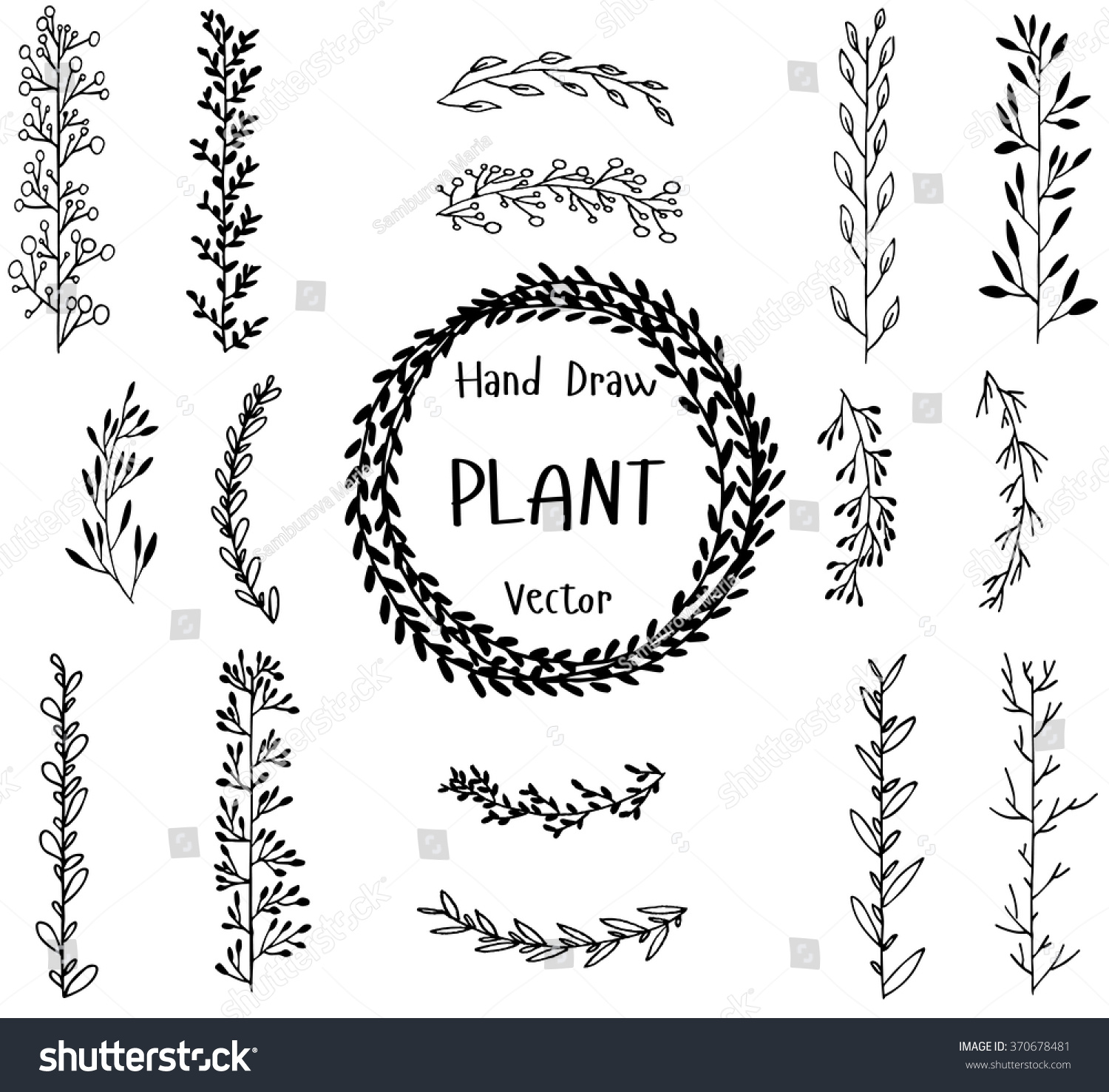Set hand drawn plant illustration ink stock vector royalty free illustration ink graphics isolated plants natural stopboris Gallery