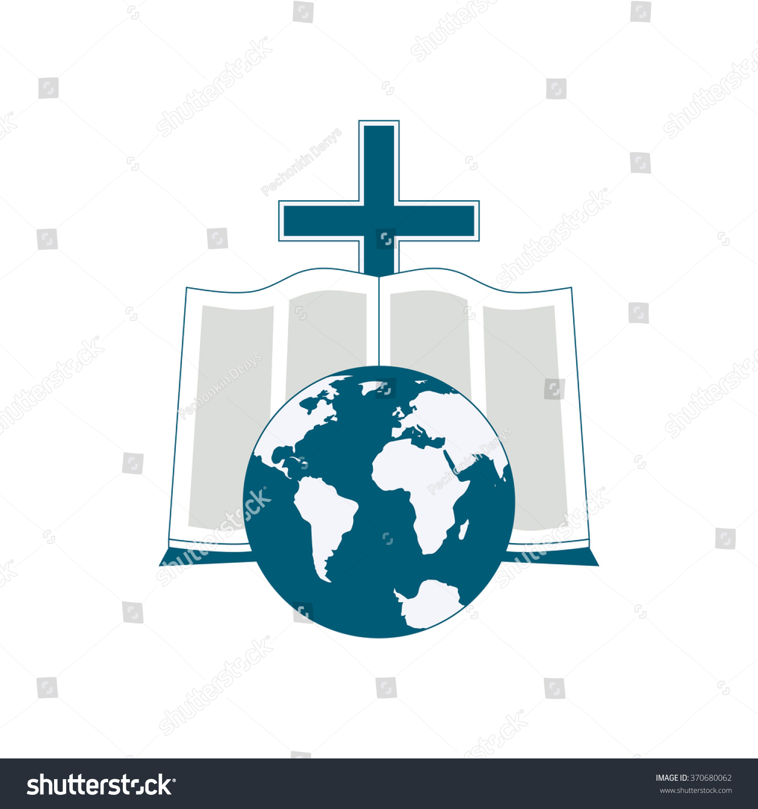 Religious logo symbolizes bible reading around stock vector religious logo symbolizes the bible reading around the world the image of the globe biocorpaavc