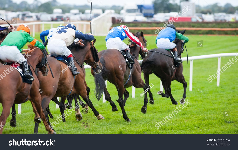 Race Horses Running Towards The Finish Line Stock Photo ...  Race Horses Run...