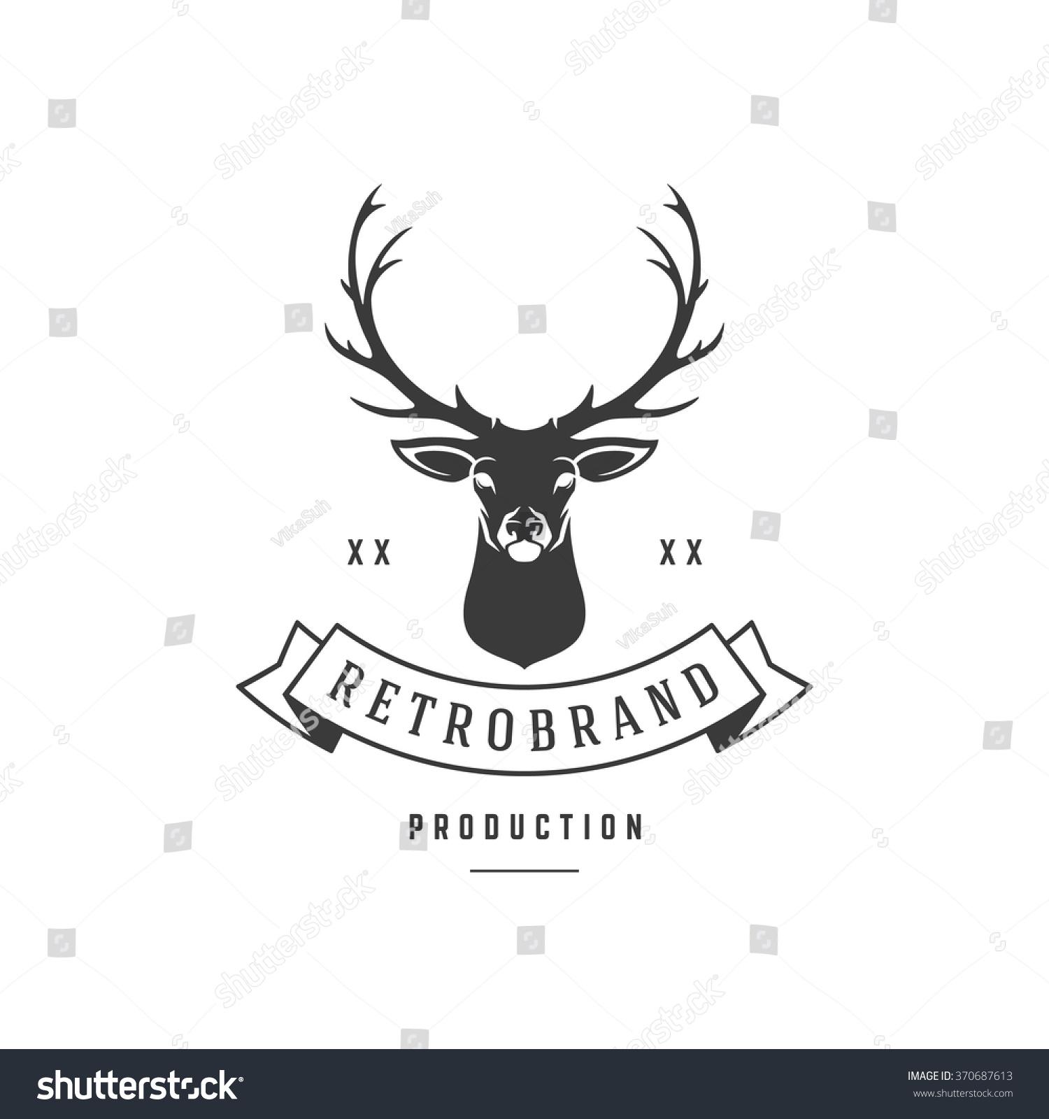 Hunting Club Logo Template Deer Head Stock Vector 370687613 ...