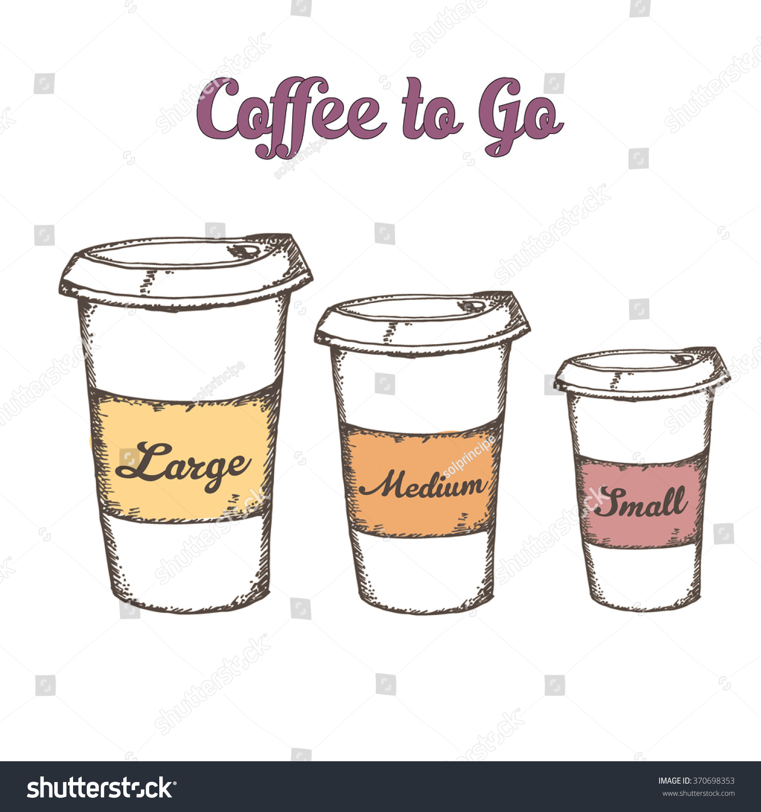 Small Pix Of Large Cups To : Hand drawn set three cup coffee stock vector