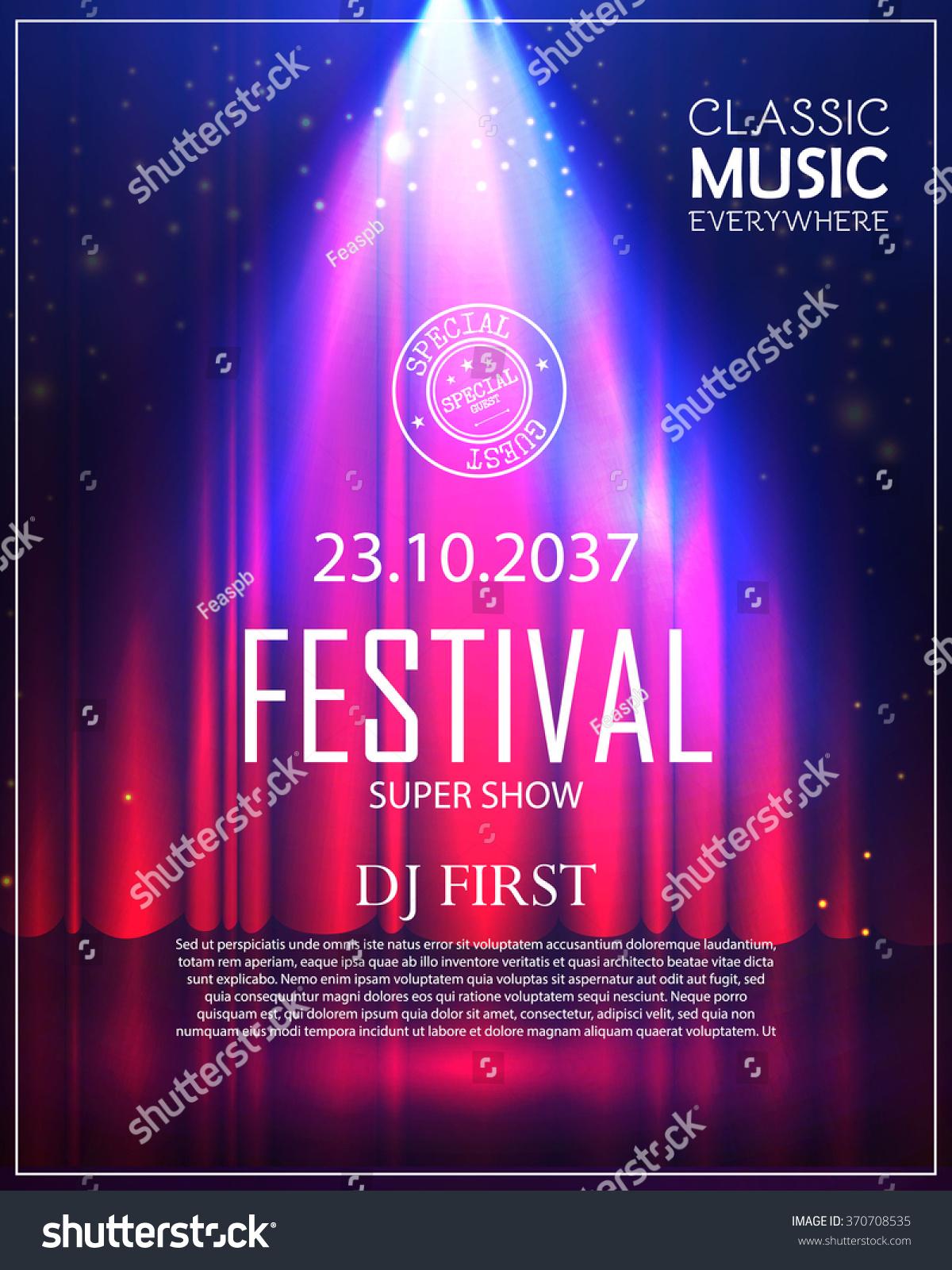 festival poster spotlight concert party theater stock