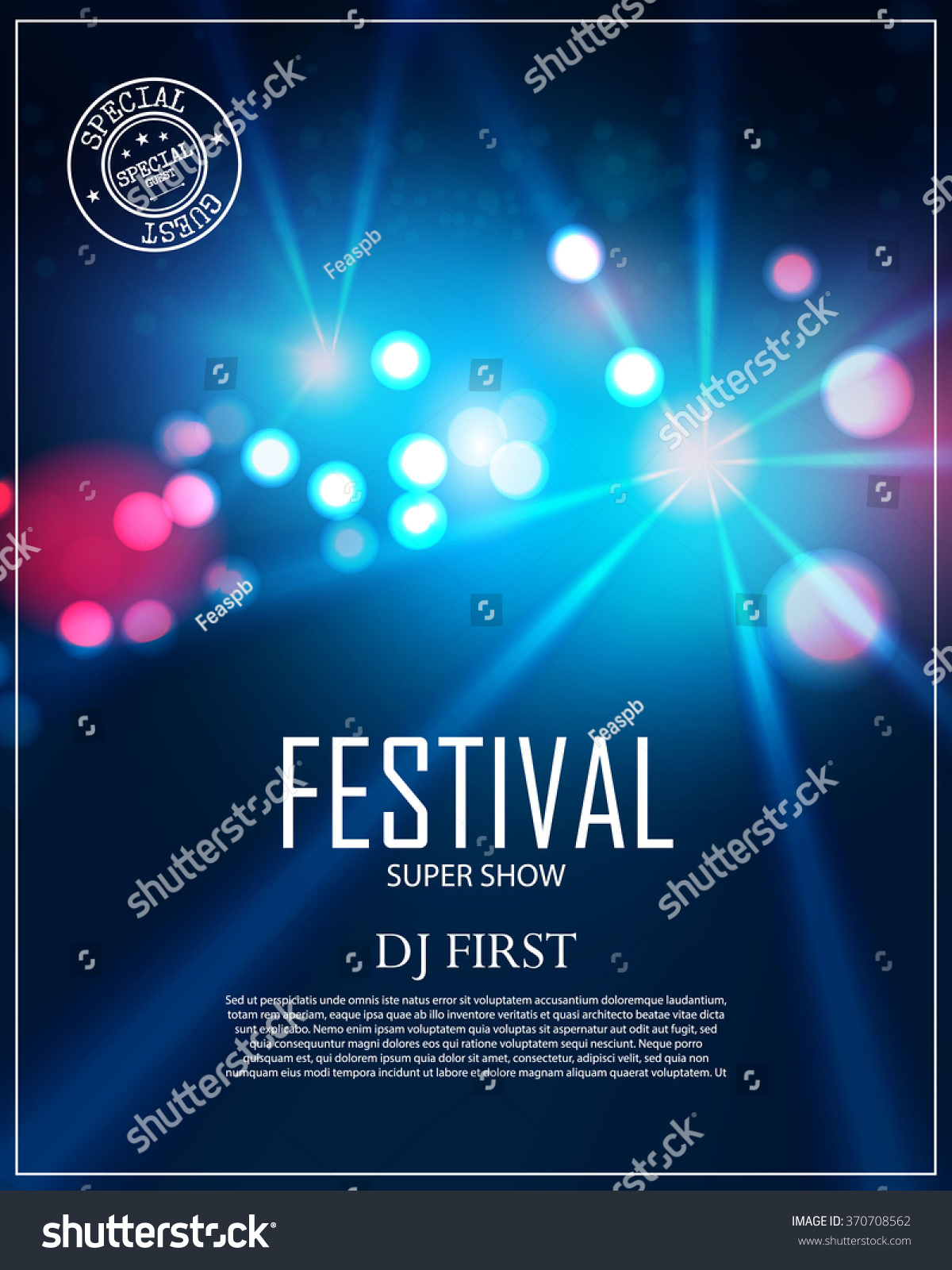 Festival Poster Template with Spotlights u0026 Bokeh. Concert, Party ...