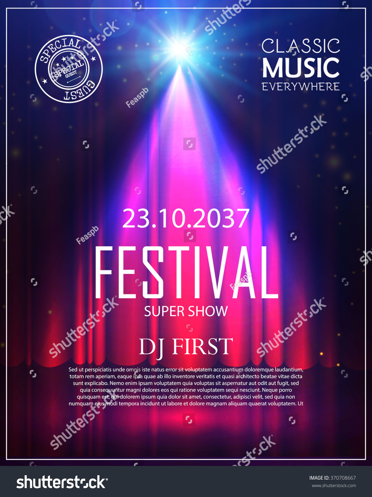 Theater curtains download free vector art stock graphics amp images -  Vectors Illustrations Footage Music Festival Poster With Spotlight Concert Party Theater Dance Show Design