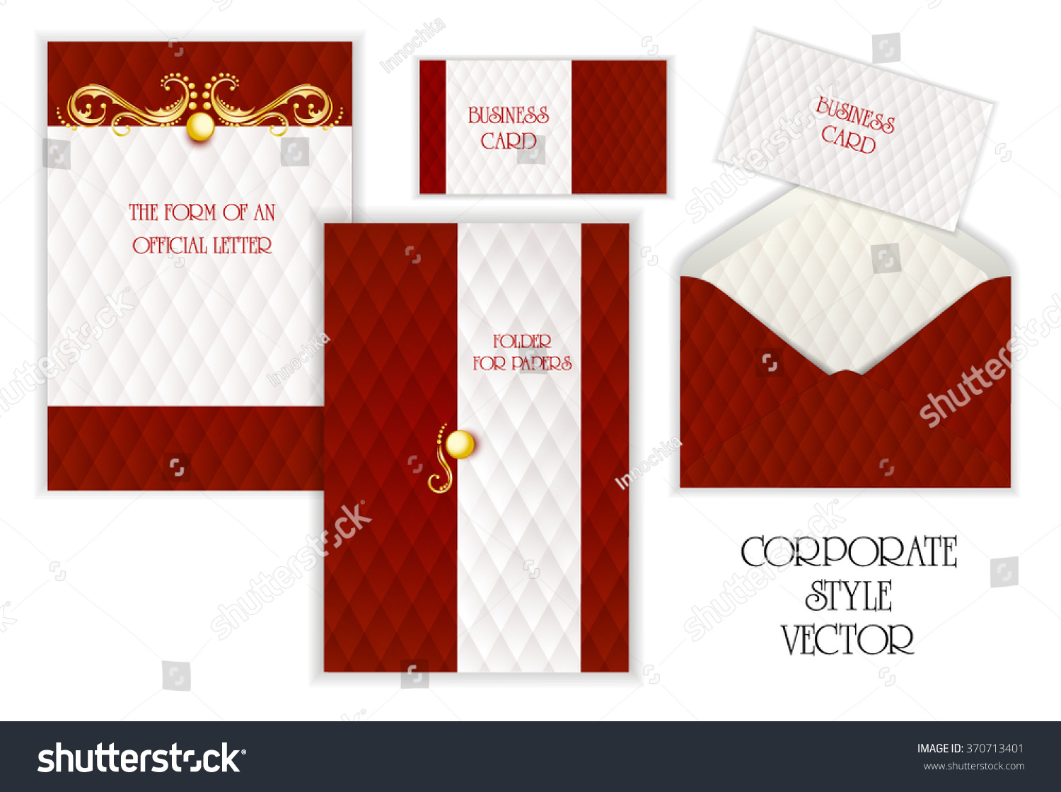 Business Card Folder Paper Envelopes Letterhead Stock Vector ...