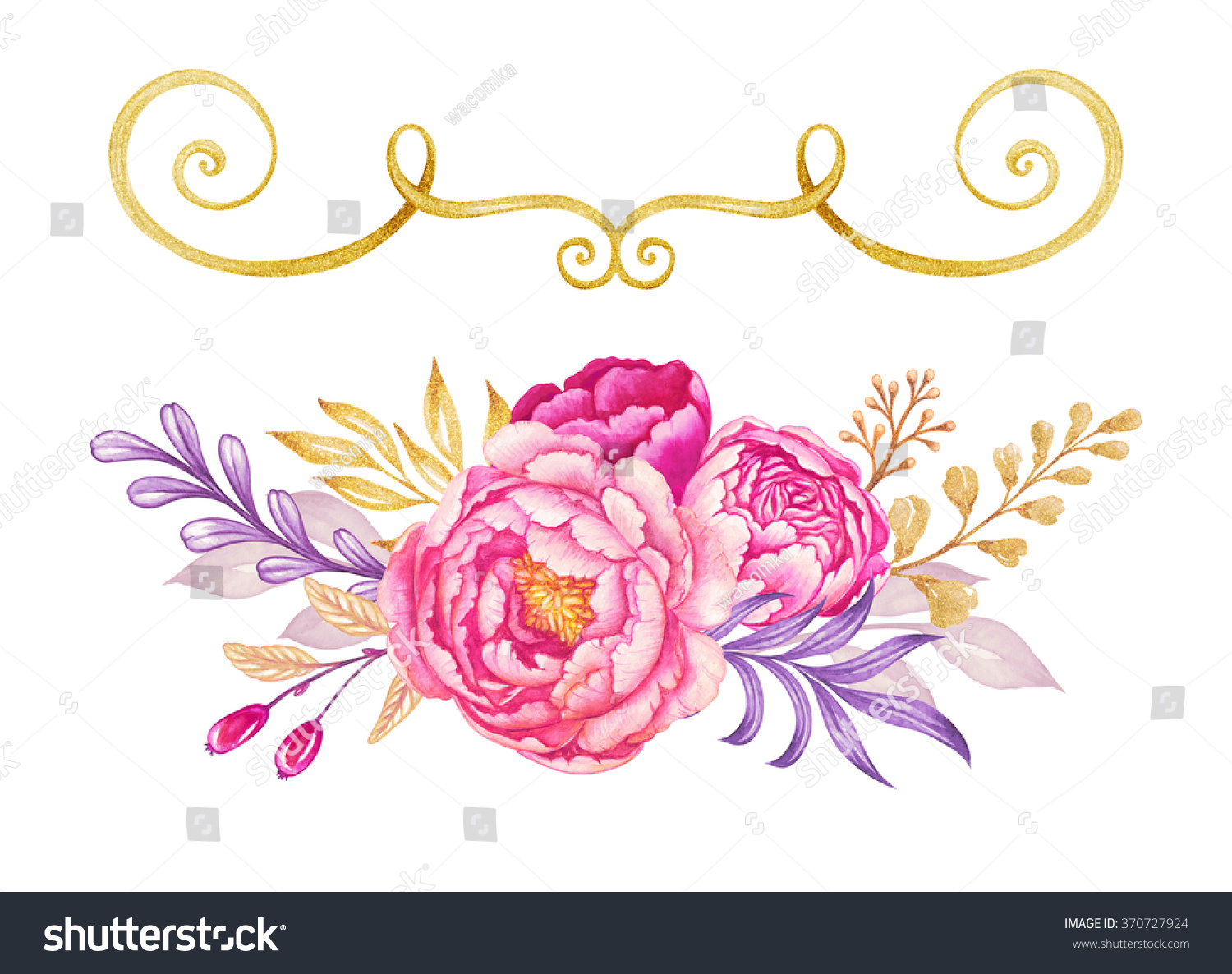 Watercolor Floral Design Elements Violet Pink Stock