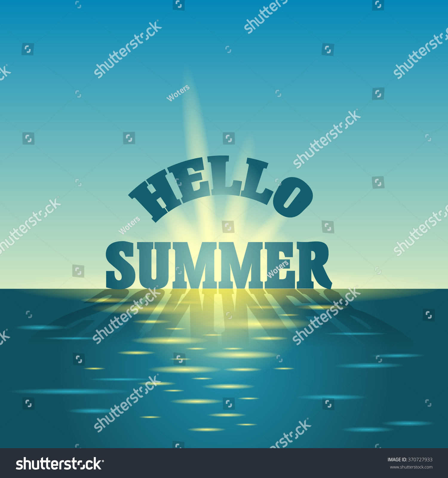 Summer Holidays Vector Background. Blue Sky And Sea. Hello