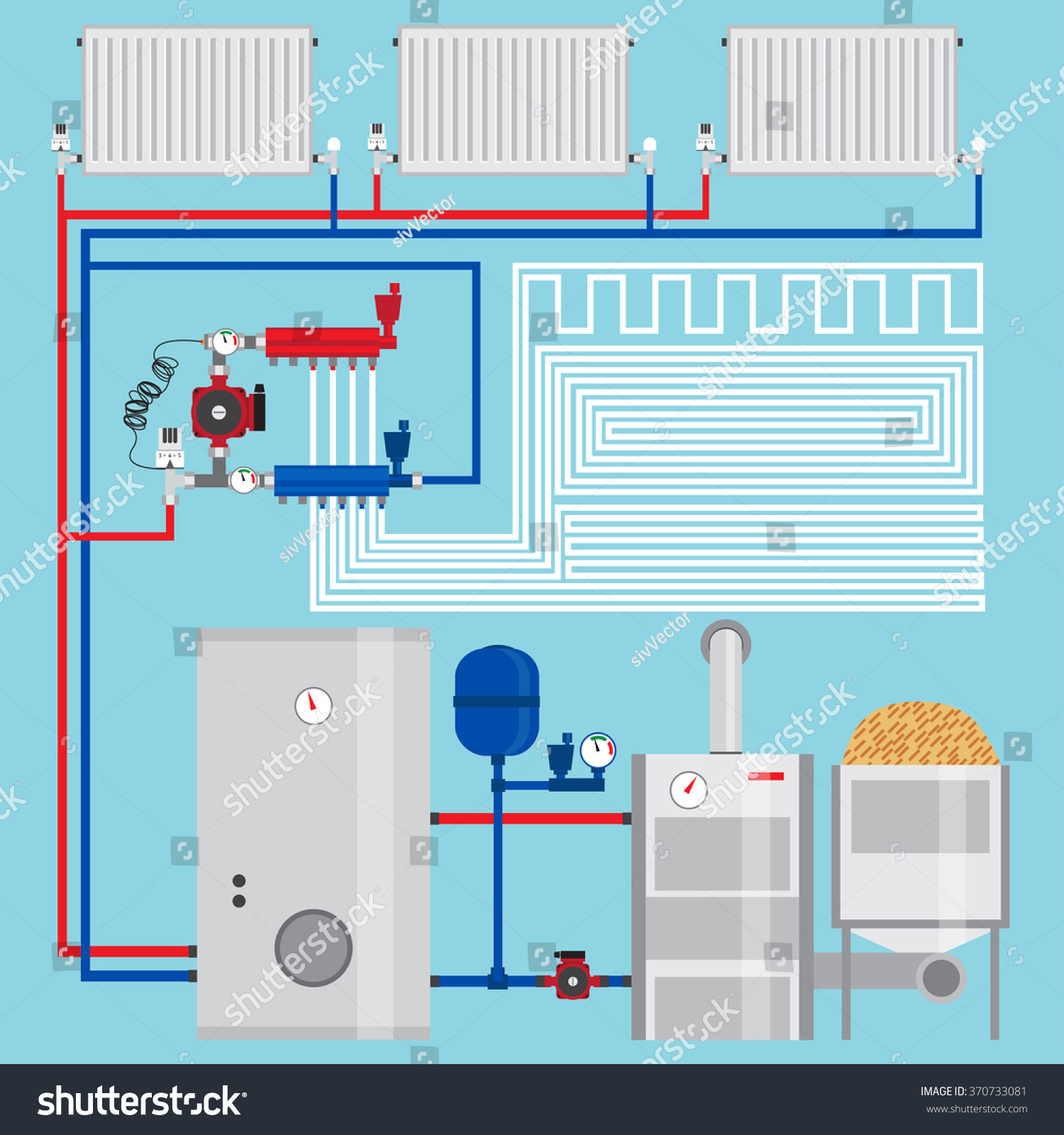 Energysaving Heating System Pellet Boiler Heating Stock Vector ...