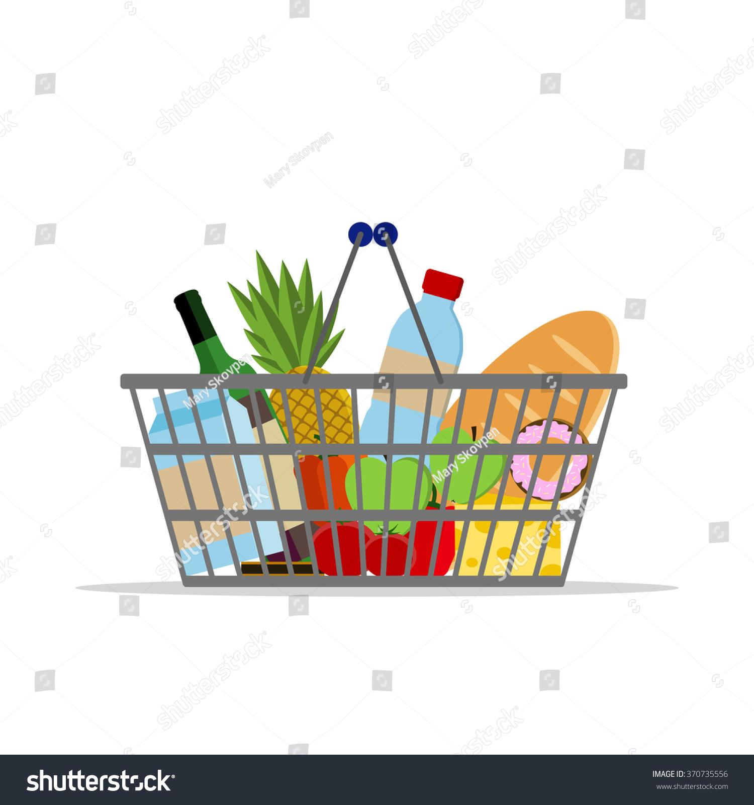 Organic Food Supermarket Logo: Full Basket Different Food Supermarket Shopping Stock