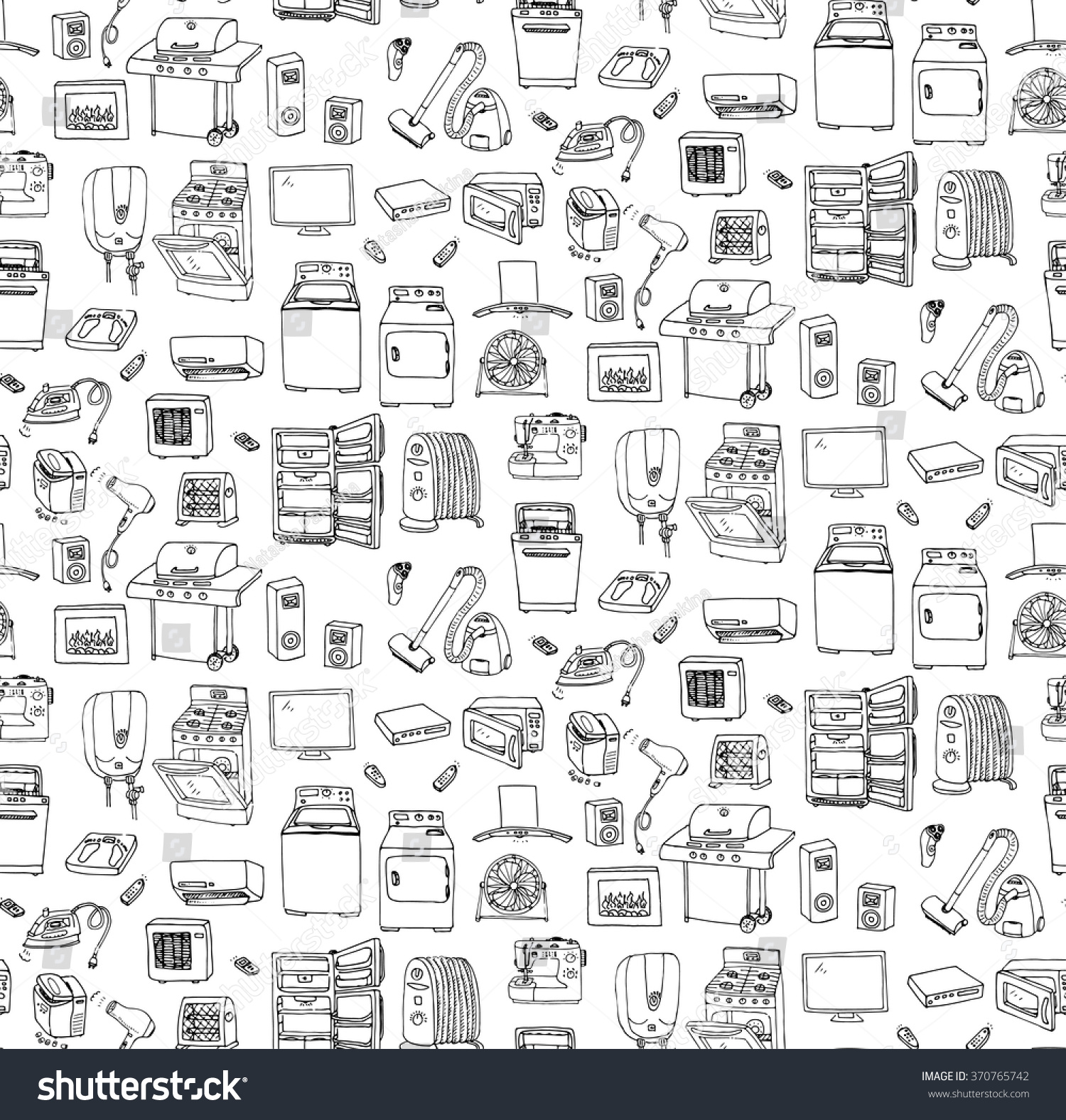 Seamless Background Hand Drawn Doodle Home Stock Vector