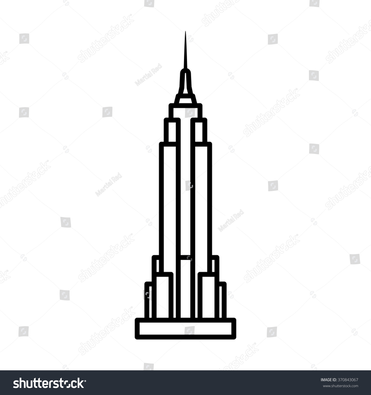 Empire State Building New York City Stock Vector 370843067