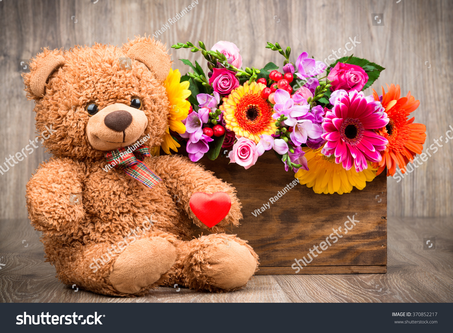 Beautiful flowers box teddy bear on stock photo edit now 370852217 beautiful flowers in the box and a teddy bear on wooden background izmirmasajfo