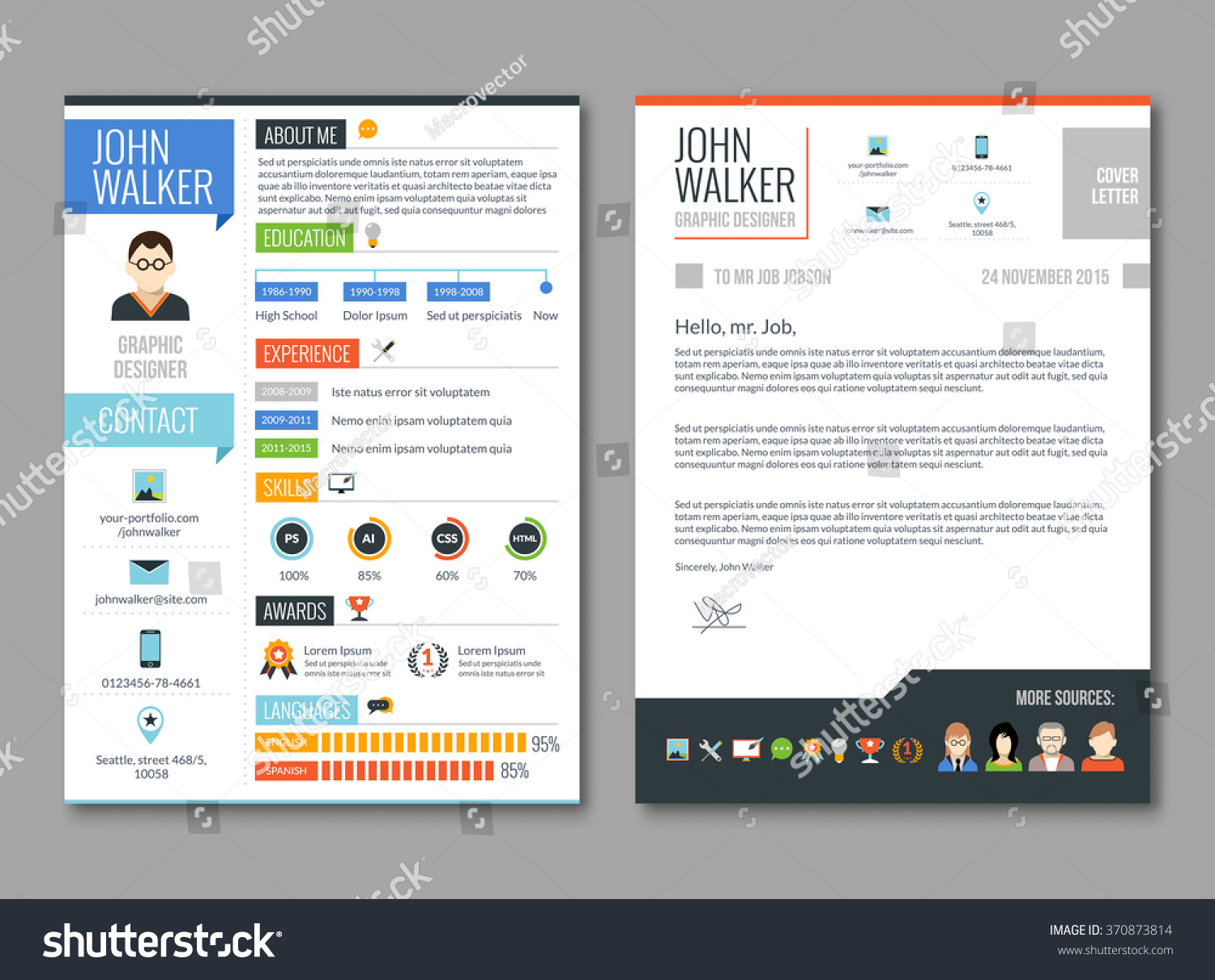 two pages job candidate cv template stock vector 370873814