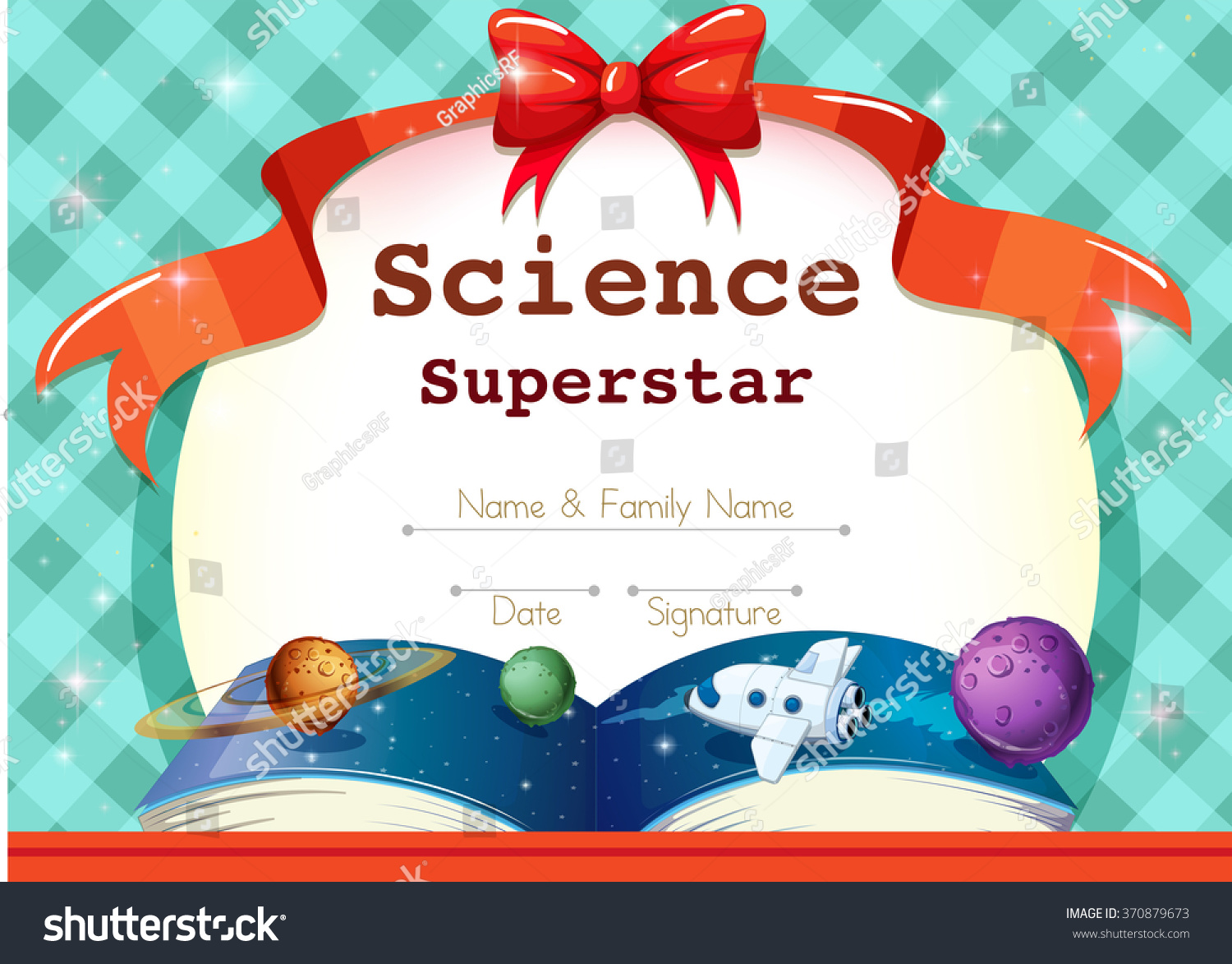 Certificate template science theme illustration stock vector certificate template with science theme illustration yelopaper Images