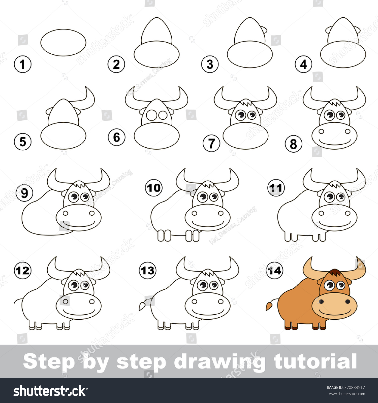 How Draw Yak Stock Vector Royalty Free 370888517 Shutterstock