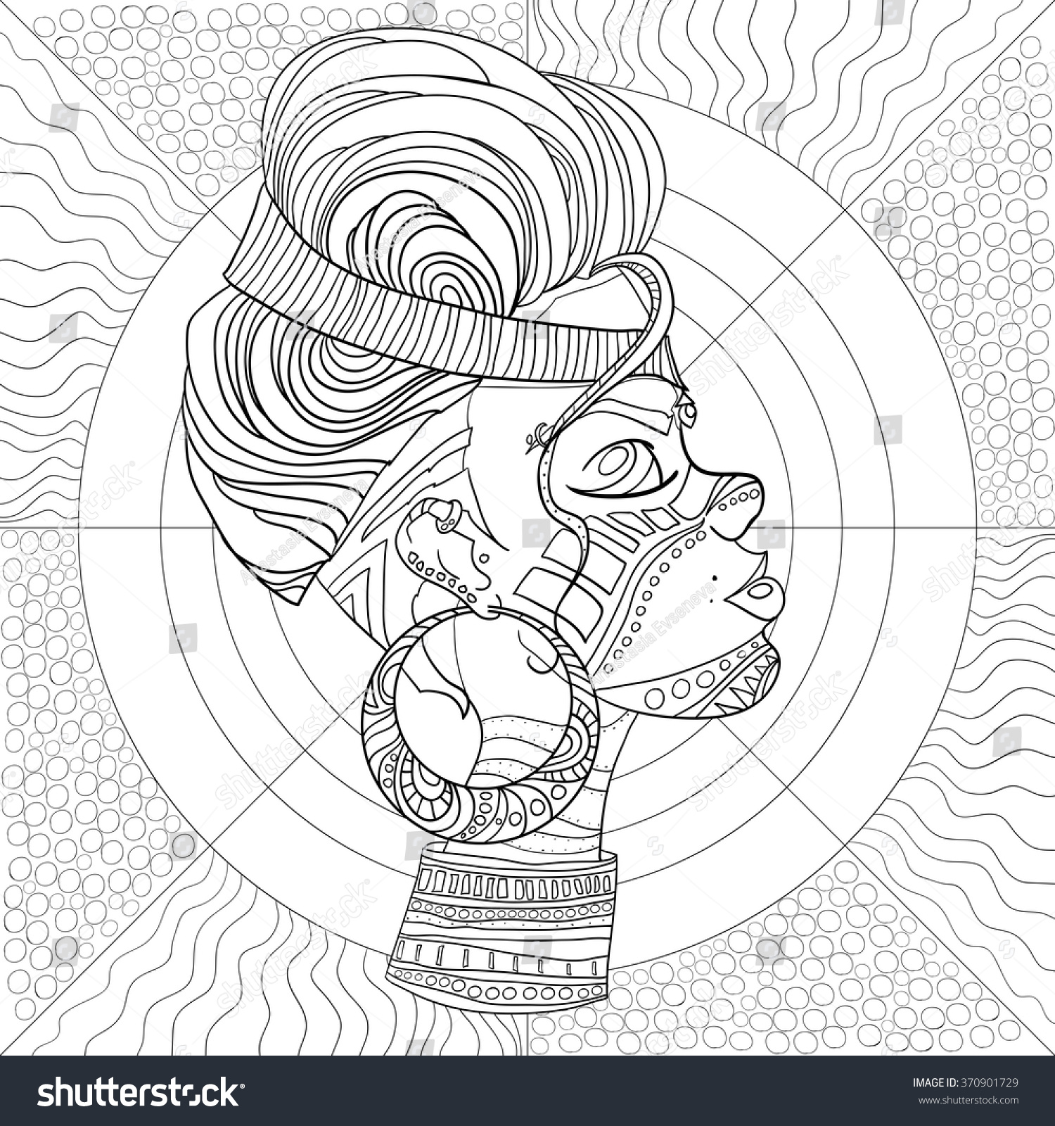 doodle vector monochrome decorative afro woman stock vector