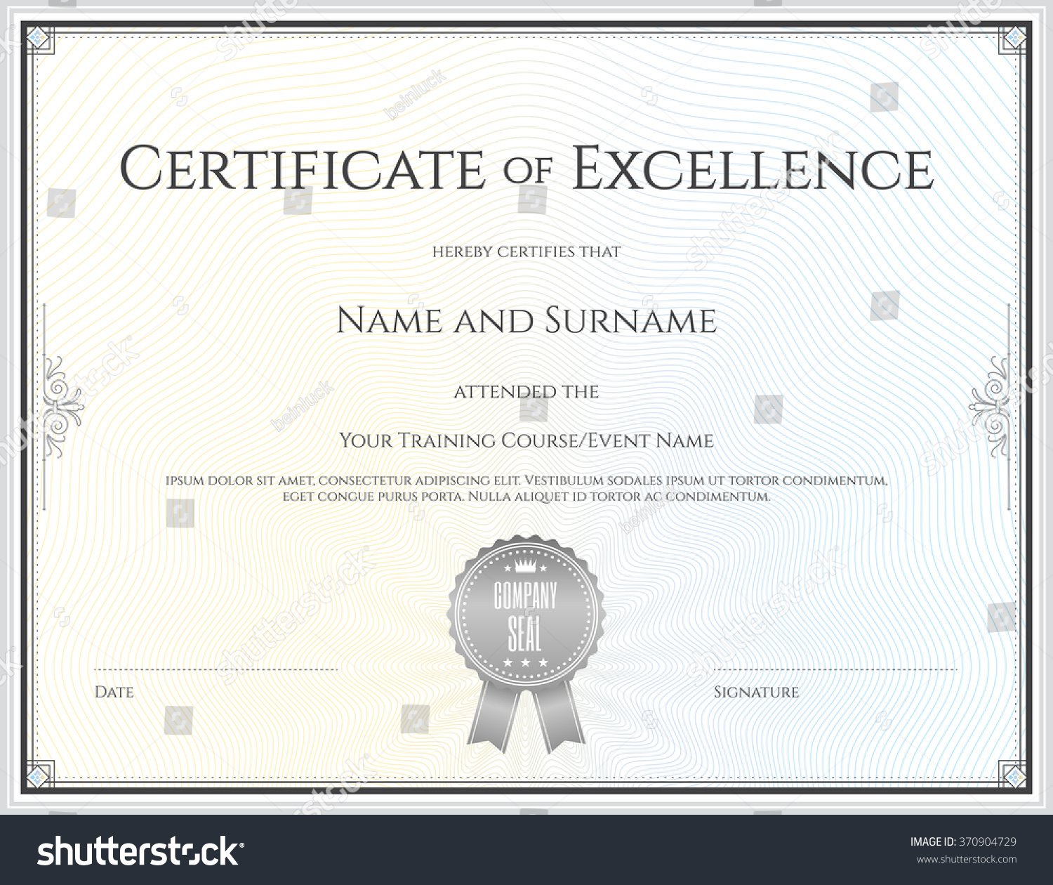 certificate excellence template vector achievement graduation stock