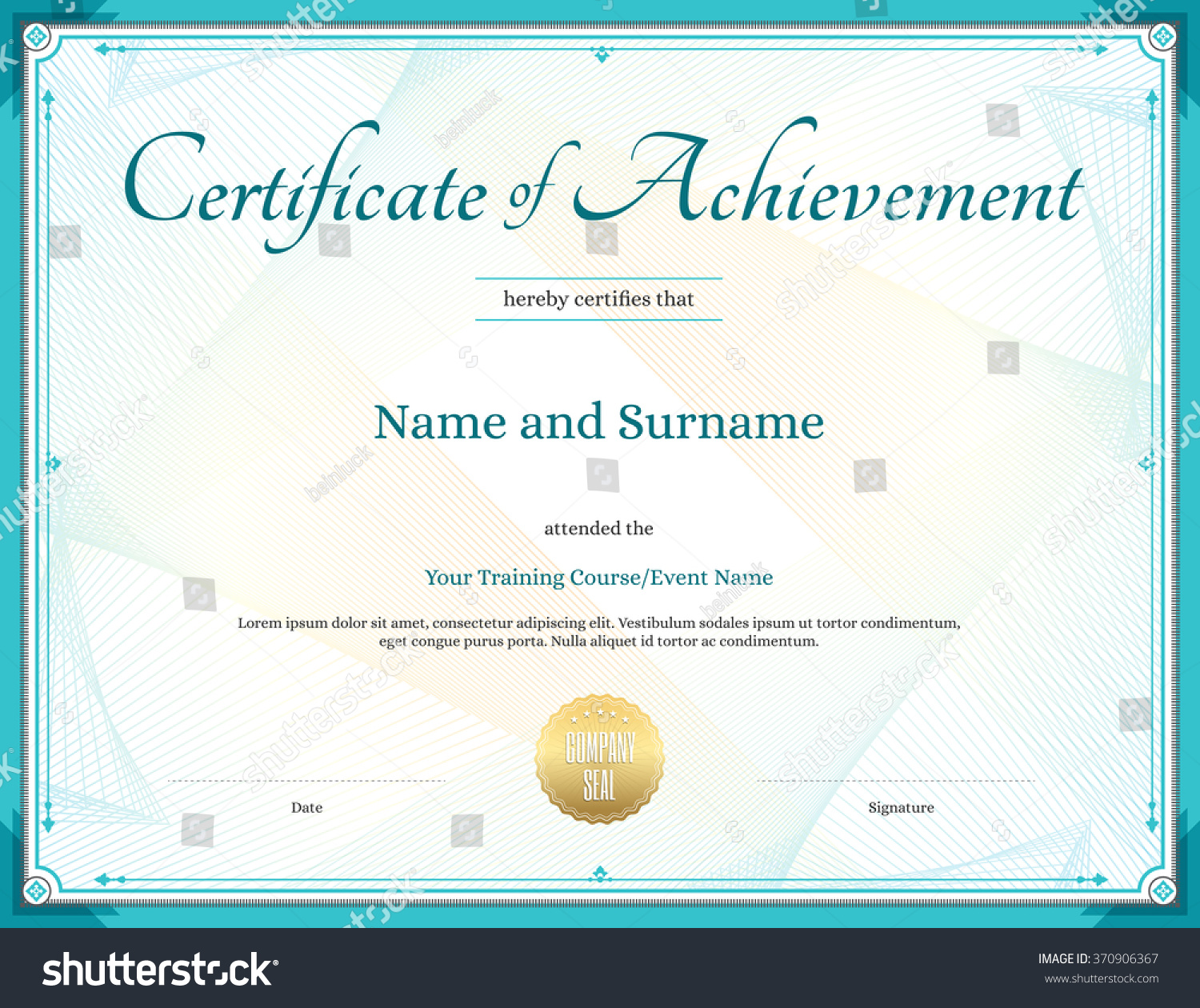 Certificate Achievement Template Vector Achievement Graduation – Template Certificate of Achievement