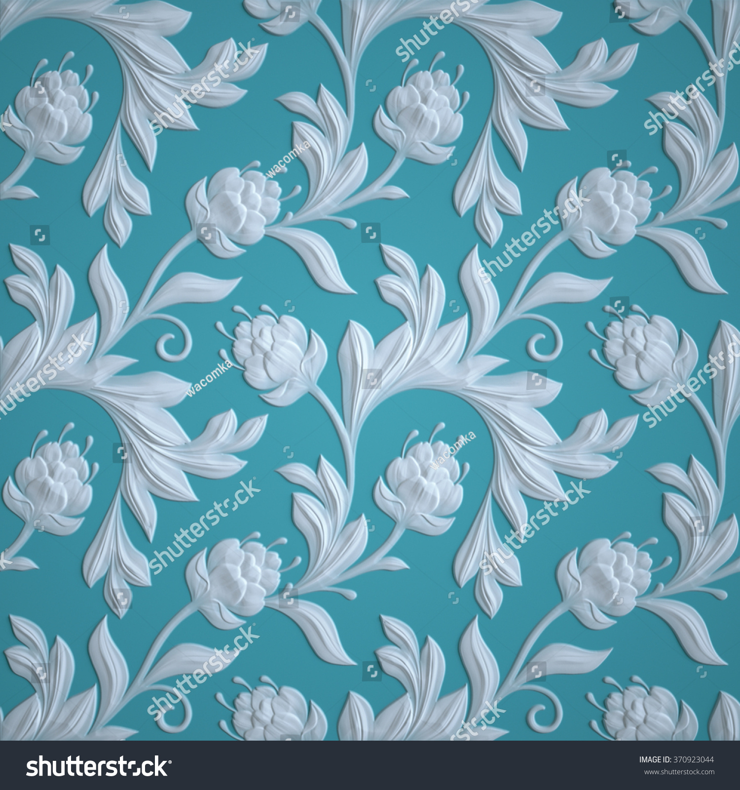 Embossed Flowers Pattern Blue Textured Paper Stock Illustration