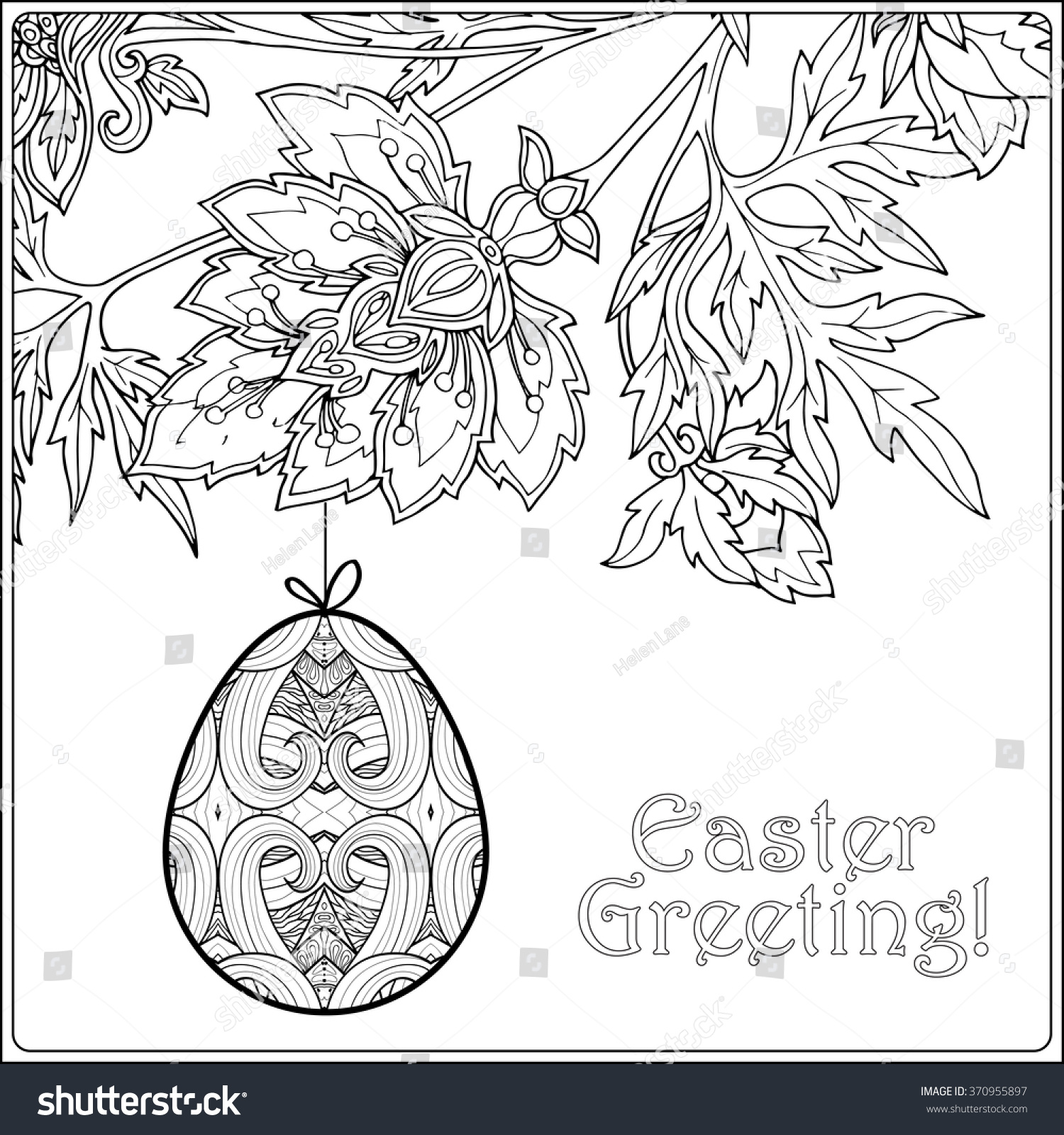 decorative vintage flowers easter eggs coloring stock vector