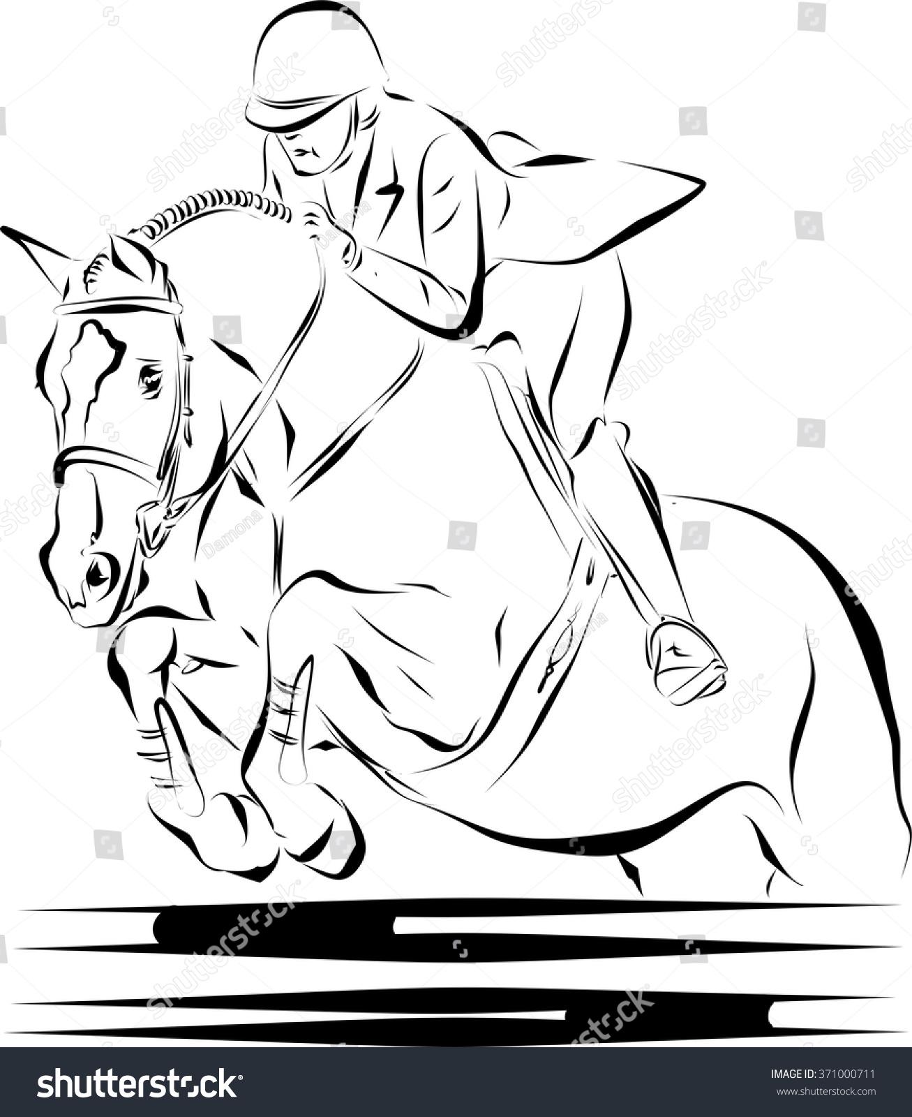 horse jumping fence rider stock vector 371000711 shutterstock