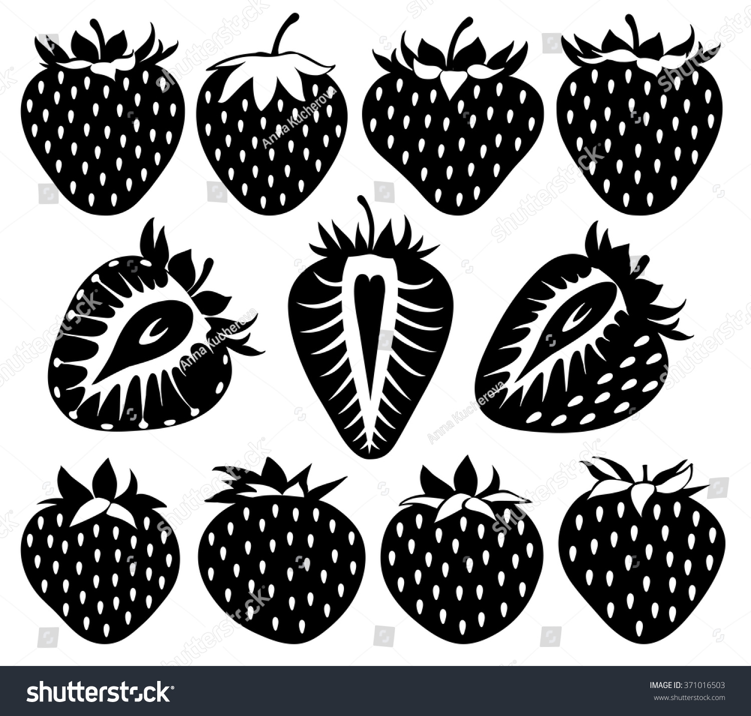 Vector Black White Strawberries Silhouettes Strawberry Stock ... for Clipart Strawberry Black And White  585eri
