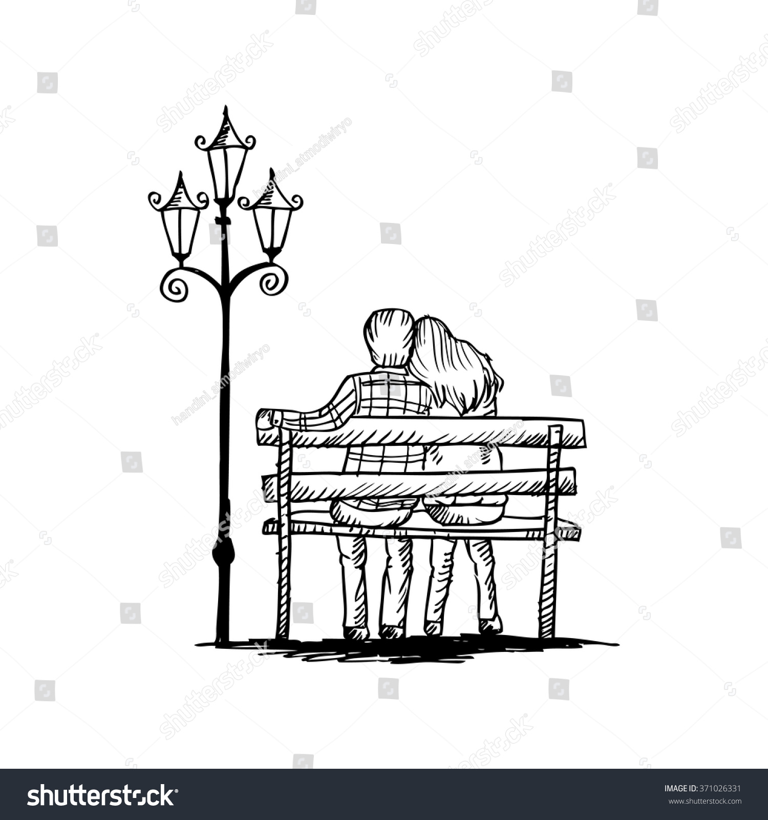 Two Lovers Sitting On A Park Bench Llll