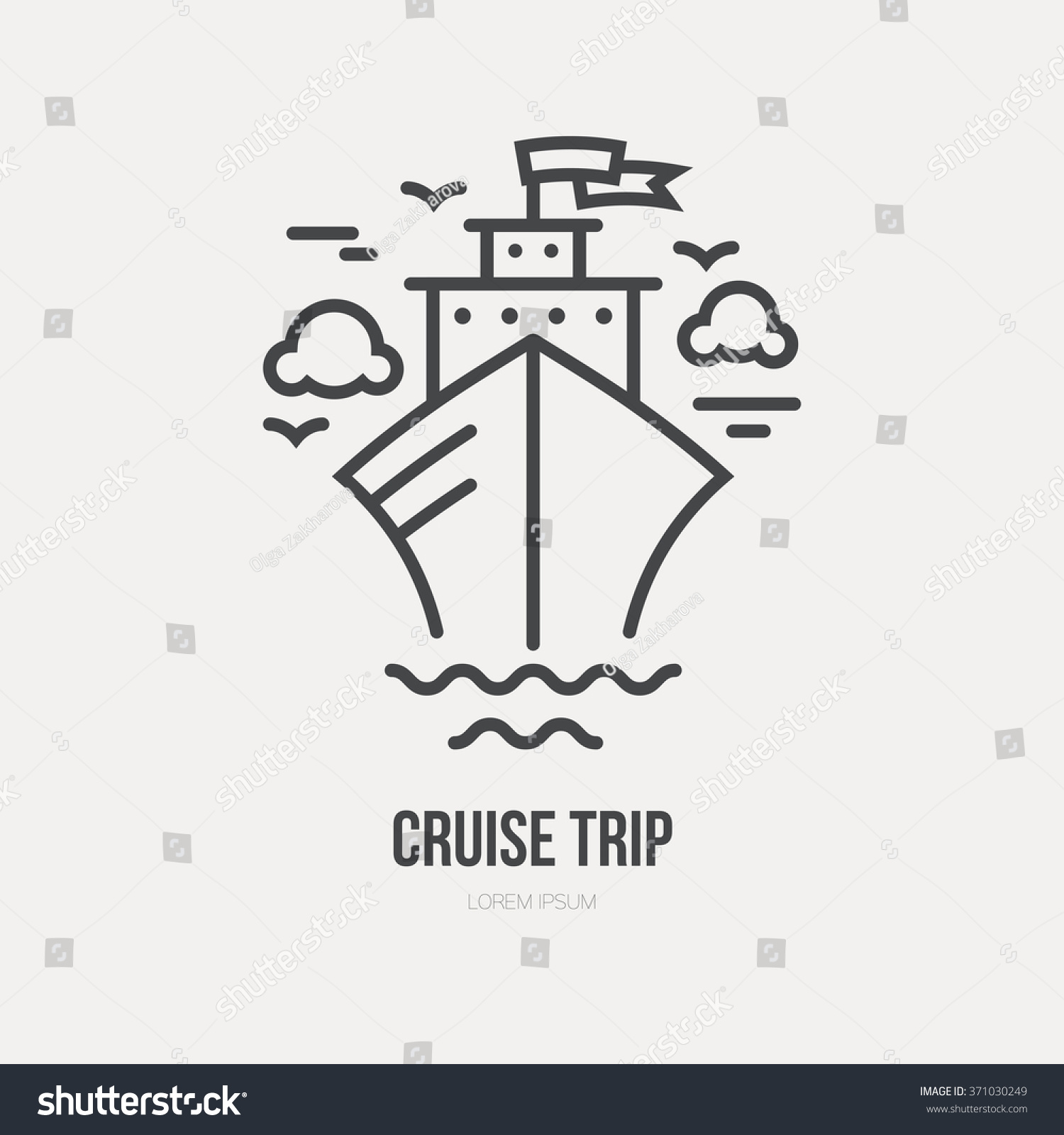 Line Style Logotype Template Cruise Ship Stock Vector Royalty Free
