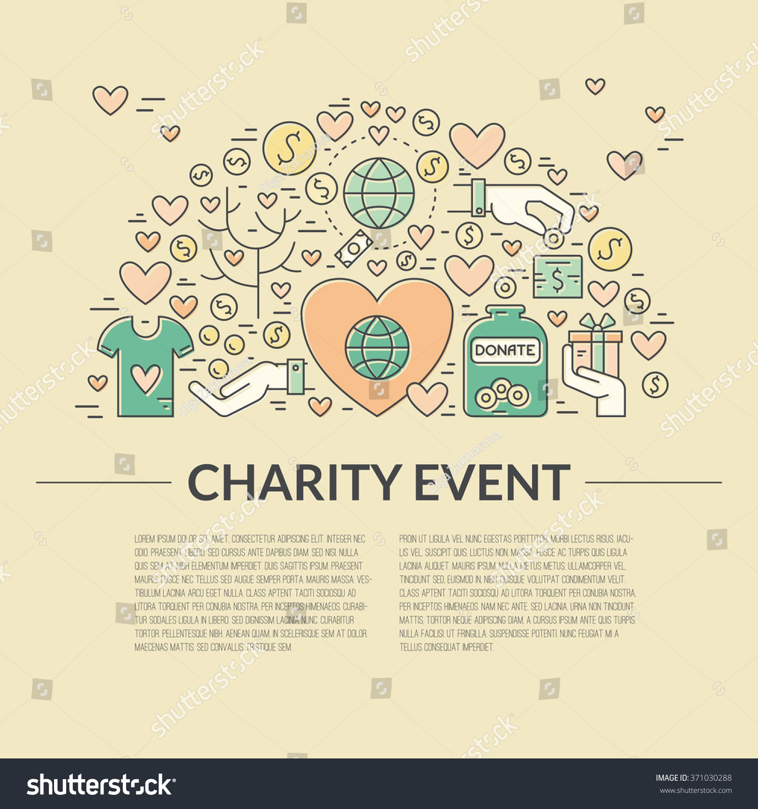 Card Poster Template Charity Fundraising Objects Vector – Event Card Template