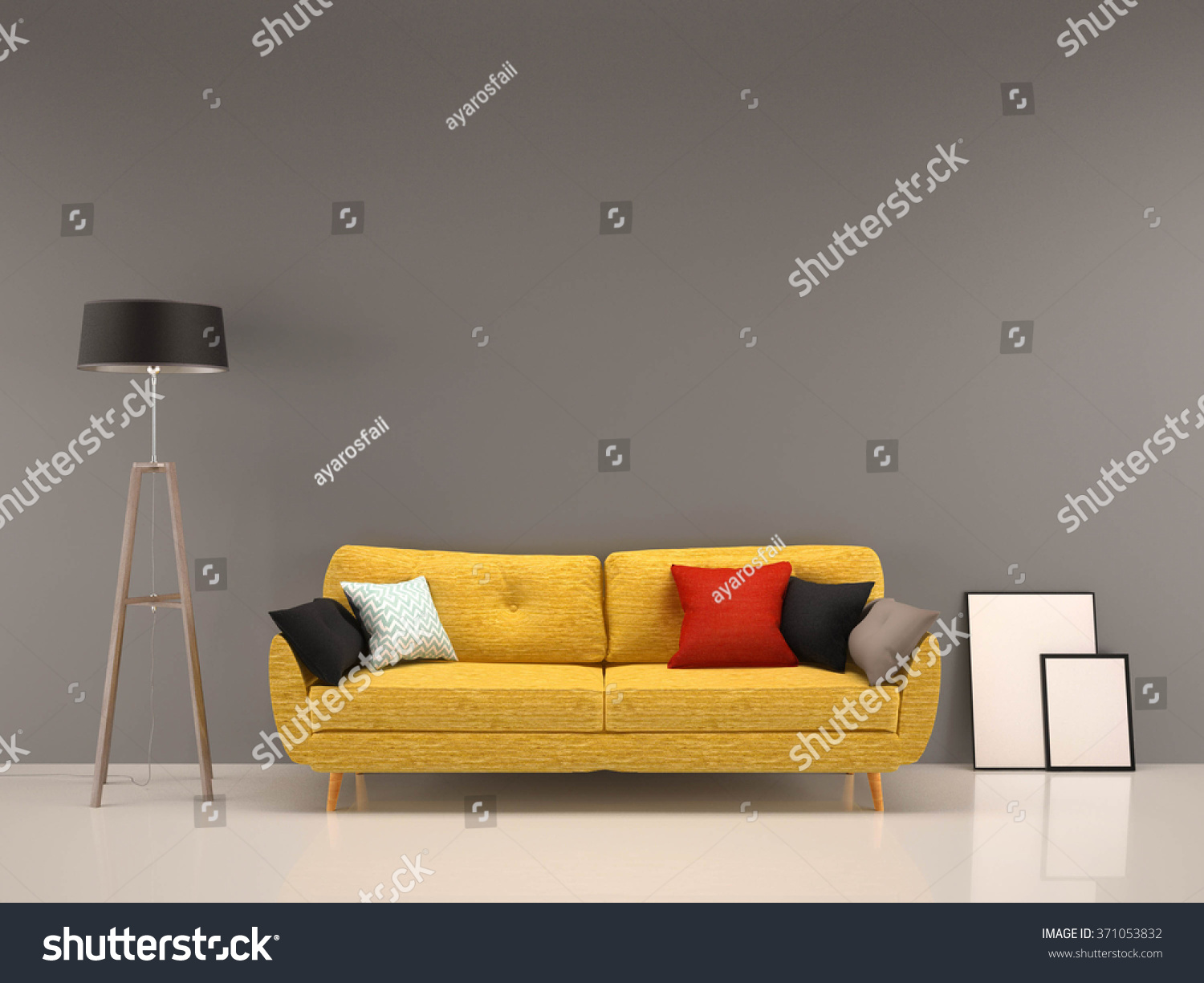 Living Room Gray Wall With Yellow Sofa Interior Background Part 88