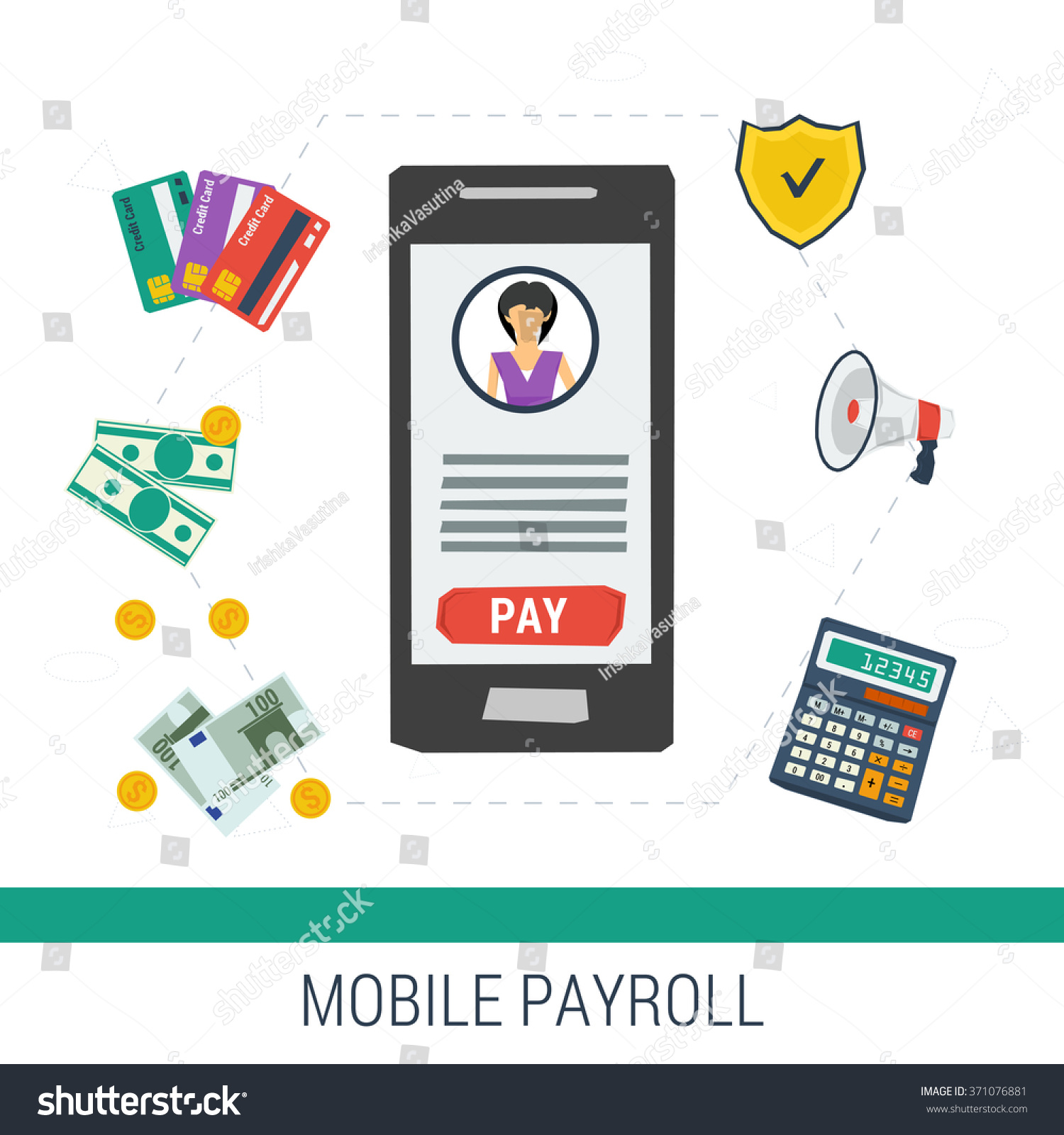Vector Concept Easy Mobile Online Payroll Stock Vector 371076881 ...