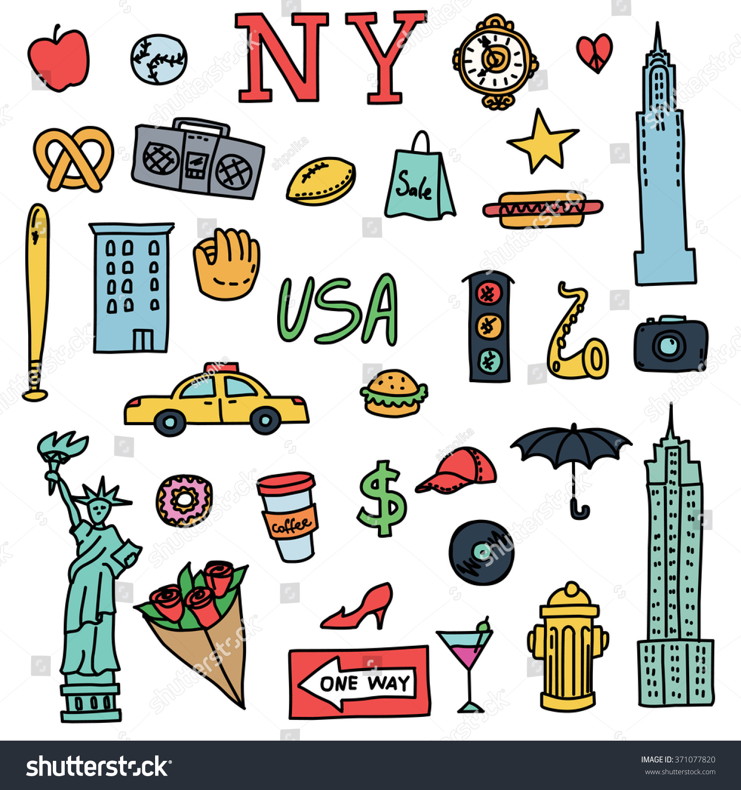 New york doodle line set hand stock vector 371077820 shutterstock new york doodle line set hand drawn elements american travel symbols vector pattern buycottarizona Image collections
