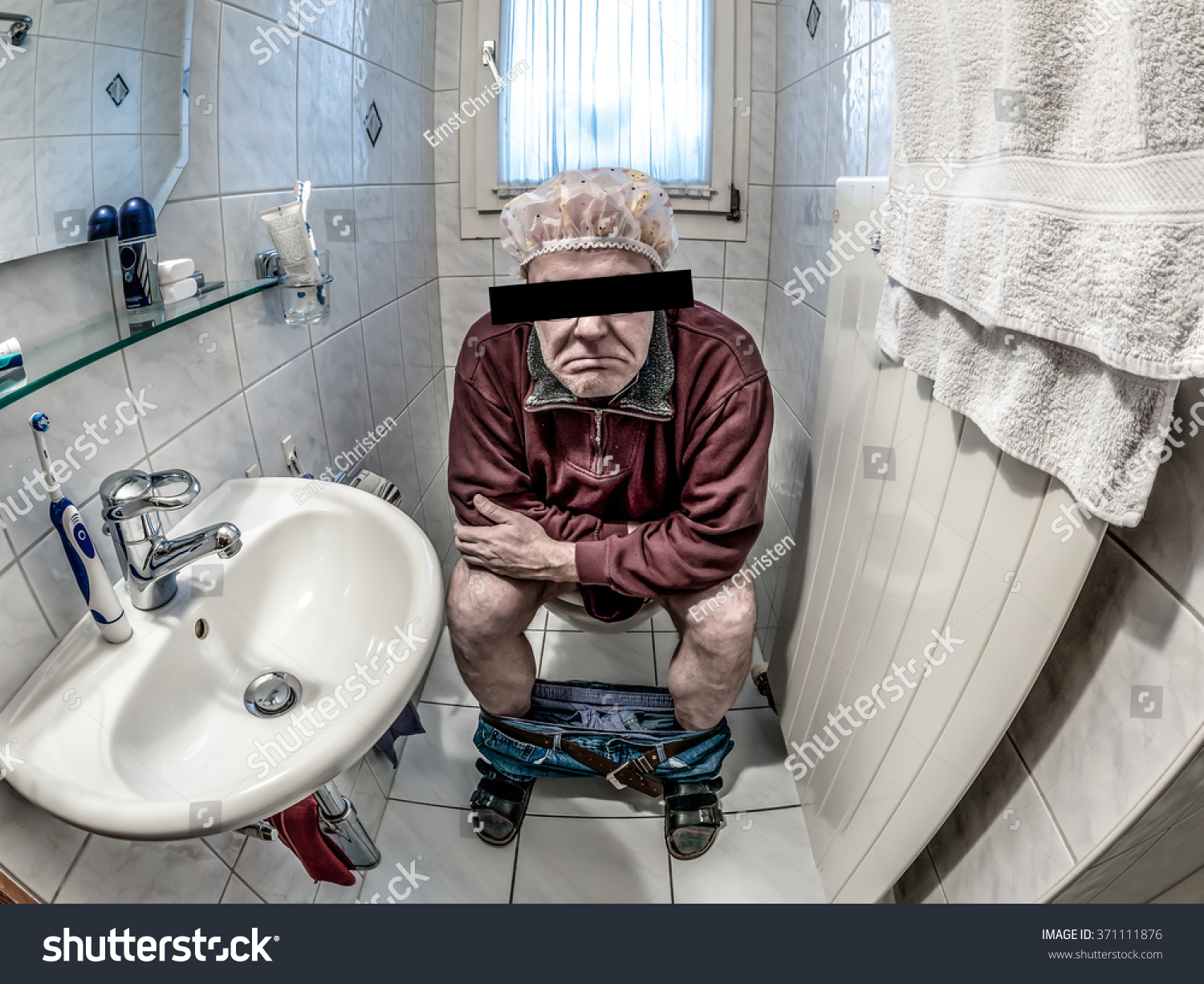 Sitting on toilet constipation diarrhea stock photo - How to use the bathroom when constipated ...