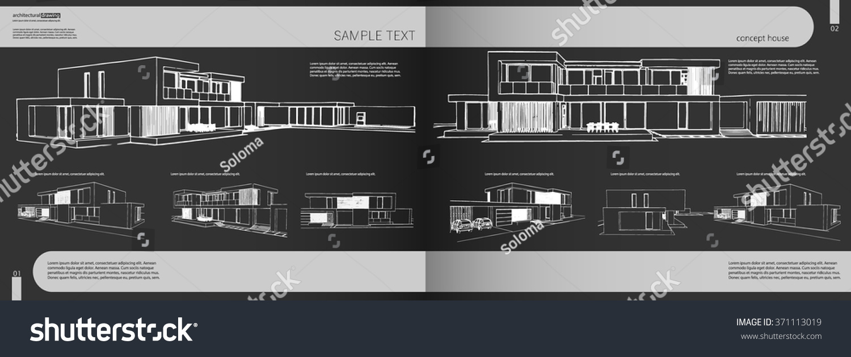 Layout Portfolio Architect Background Cover Heading Stock Vector 371113019    Shutterstock