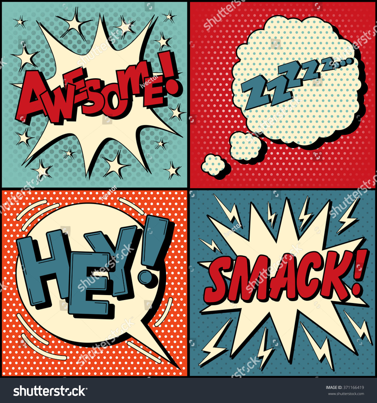 Set ic Speech Bubbles Pop Art Stock Vector Royalty Free