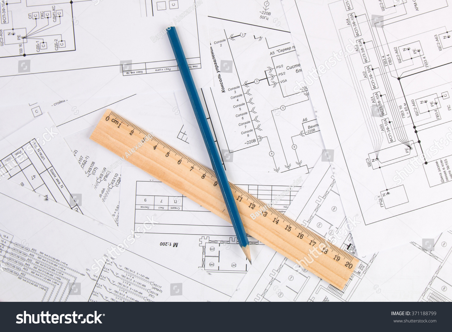 Royalty Free Electrical Engineering Drawings 371188799 Stock Photo E Plan Printing Pencil And Ruler