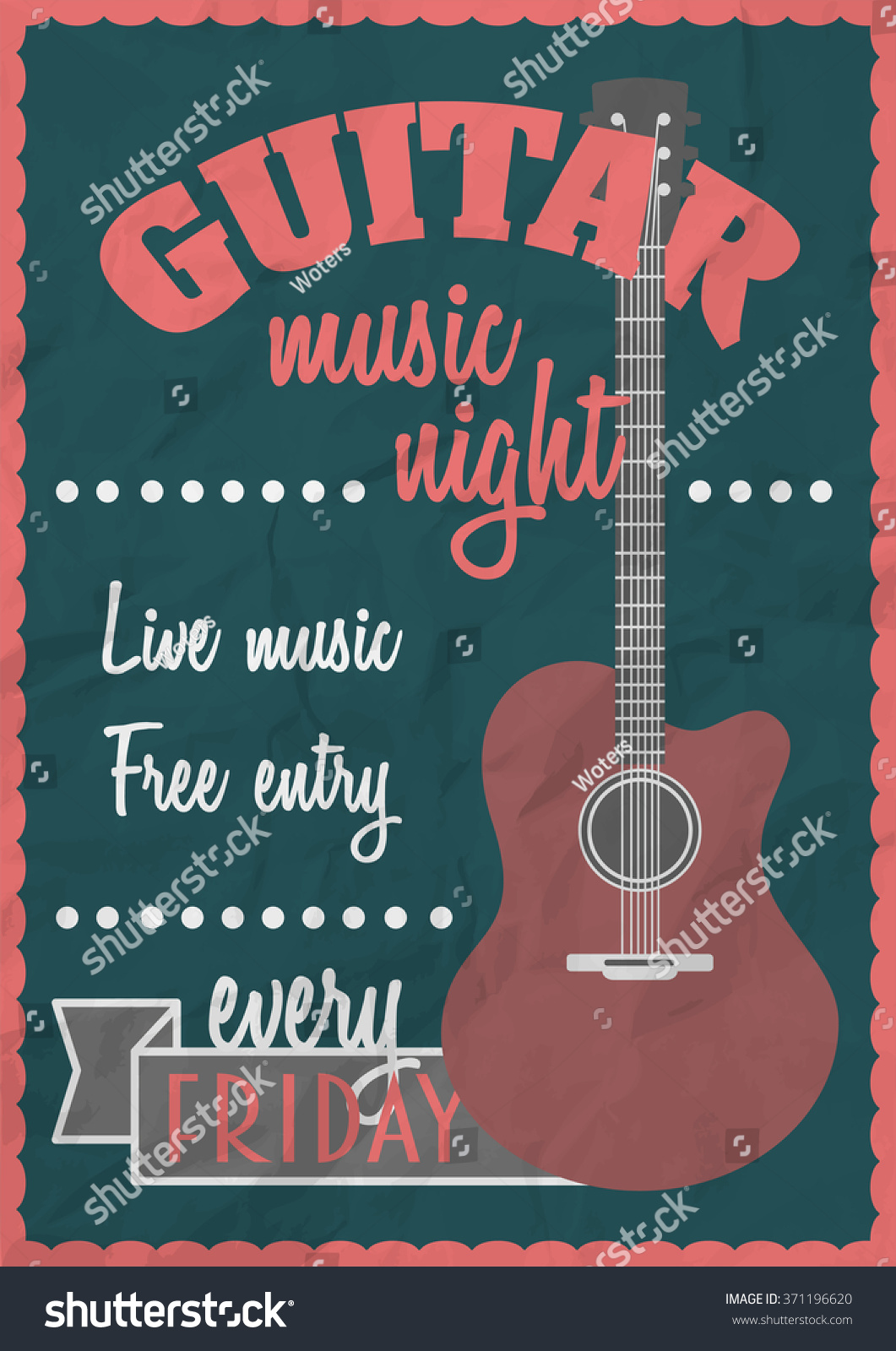 Dovetail template printable guitar - Vector Retro Vintage Poster Concept With Acoustic Guitar Rock Concert Design Template Can Be